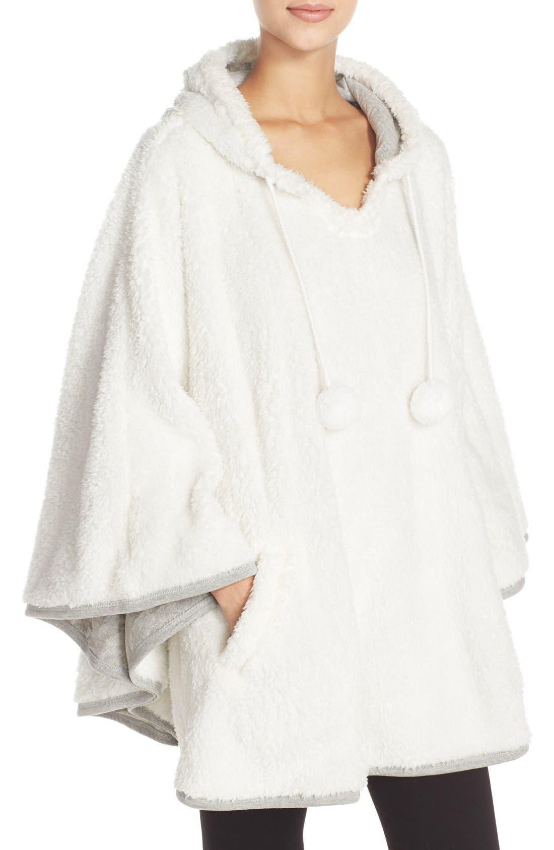 Hooded Fleece Poncho,                             Alternate thumbnail 3, color,                             020