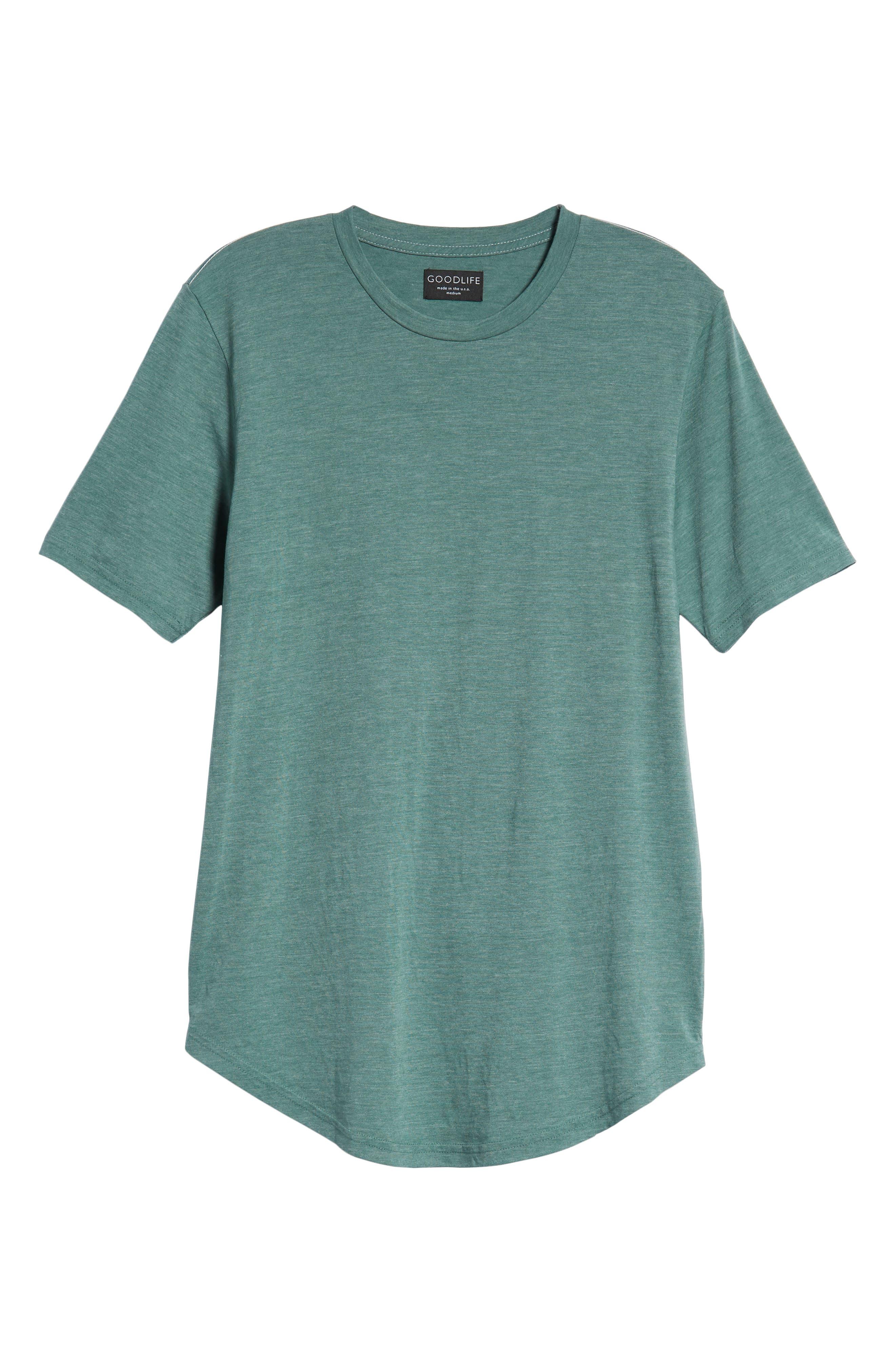 Scallop Triblend Crewneck T-Shirt,                             Alternate thumbnail 6, color,                             PINE