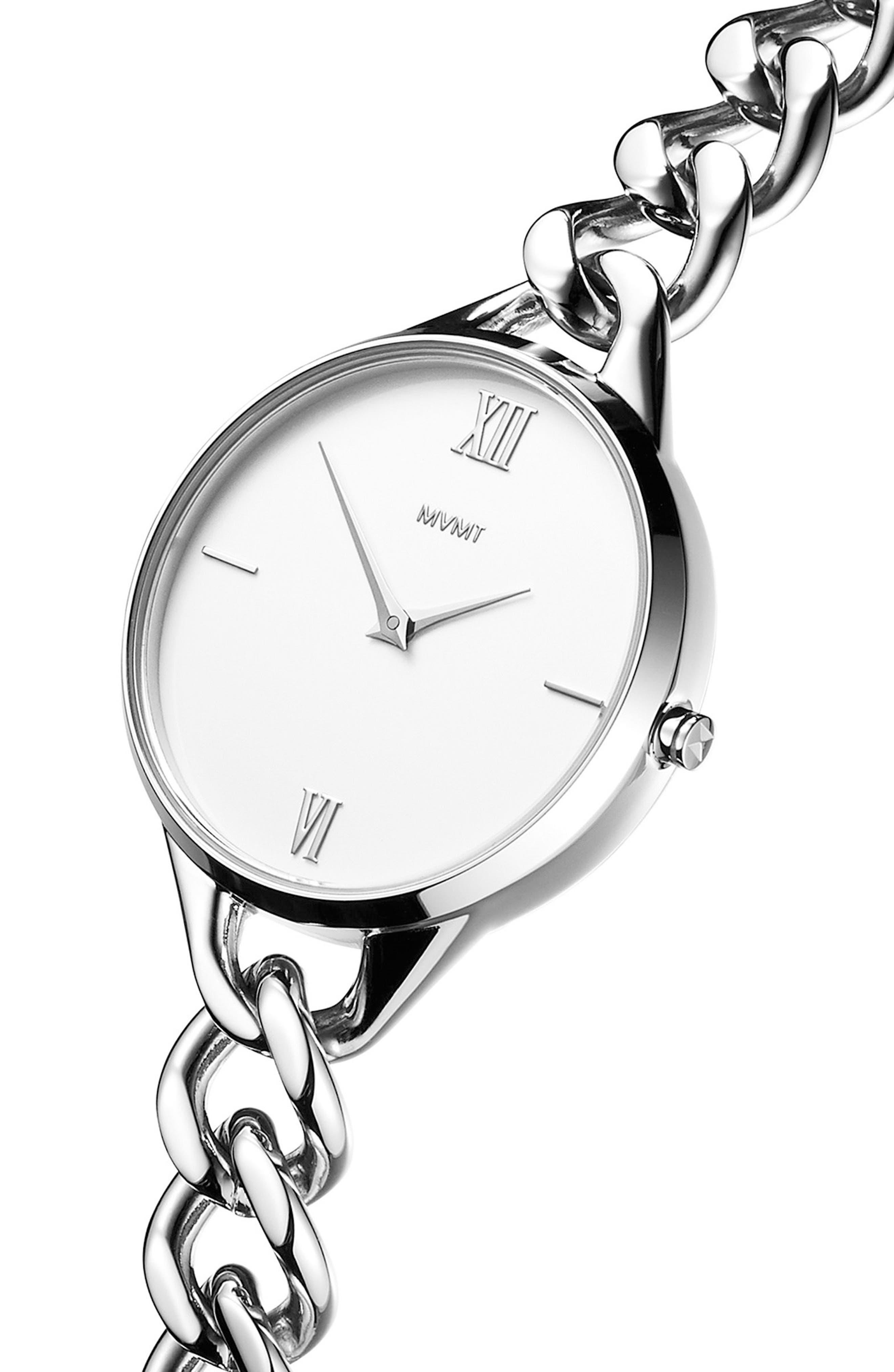 Gala Chain Bracelet Watch, 32mm,                             Alternate thumbnail 3, color,                             SILVER/ WHITE/ SILVER