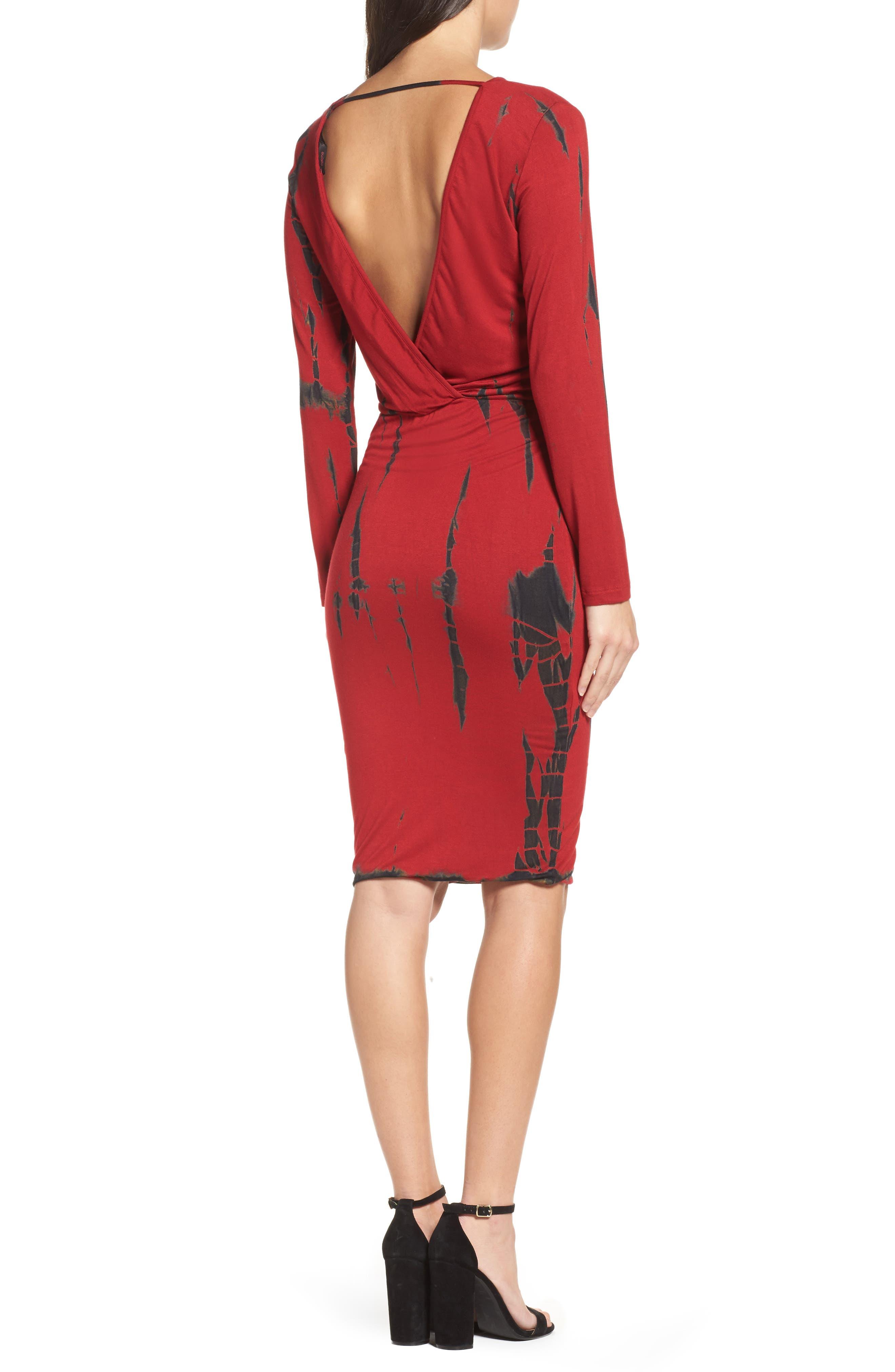 Tie Dye Blouson Midi Dress,                             Alternate thumbnail 2, color,                             WINE BLACK