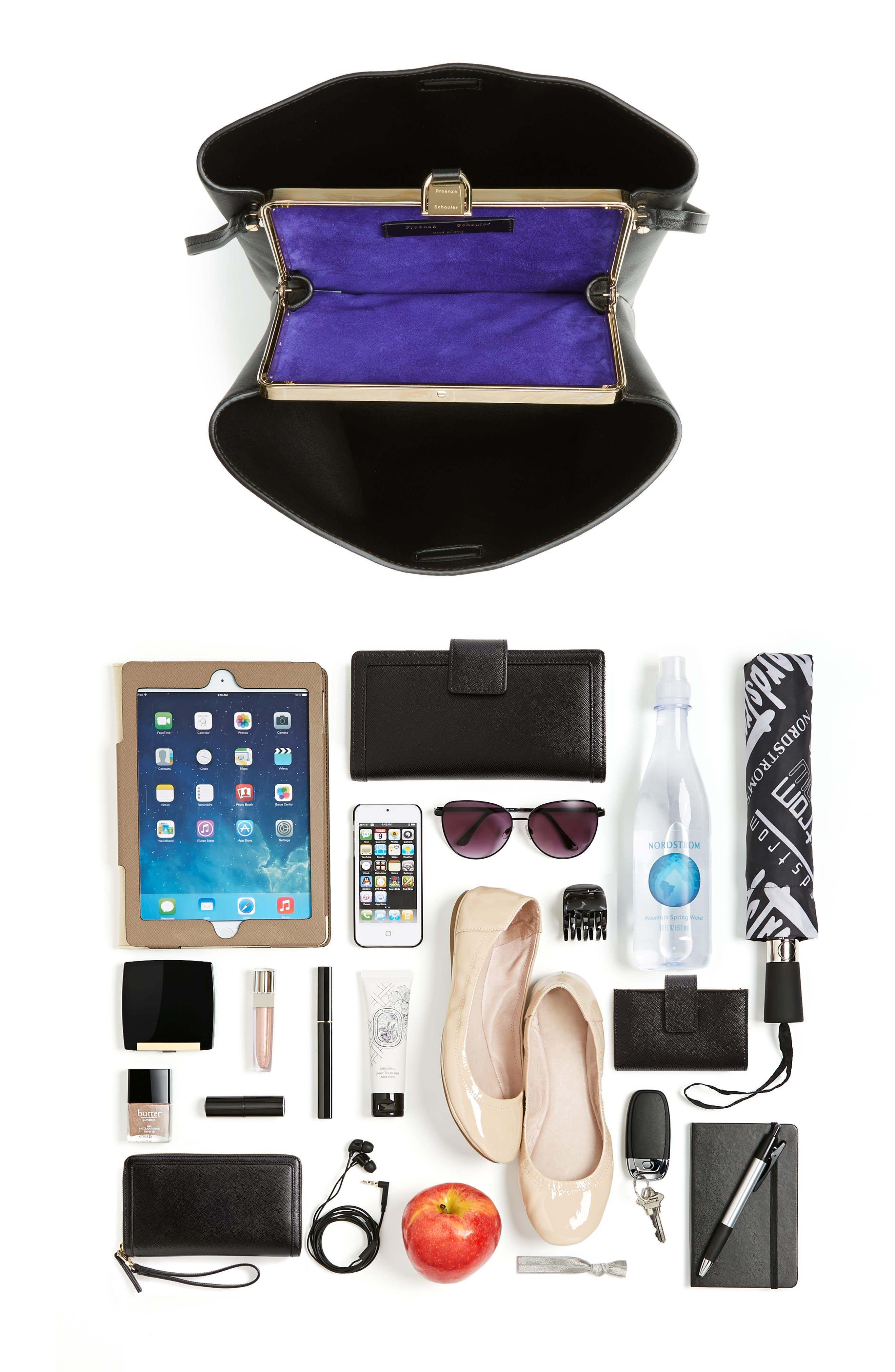 Frame Leather Shoulder Bag,                             Alternate thumbnail 7, color,                             BLACK/ BLACK