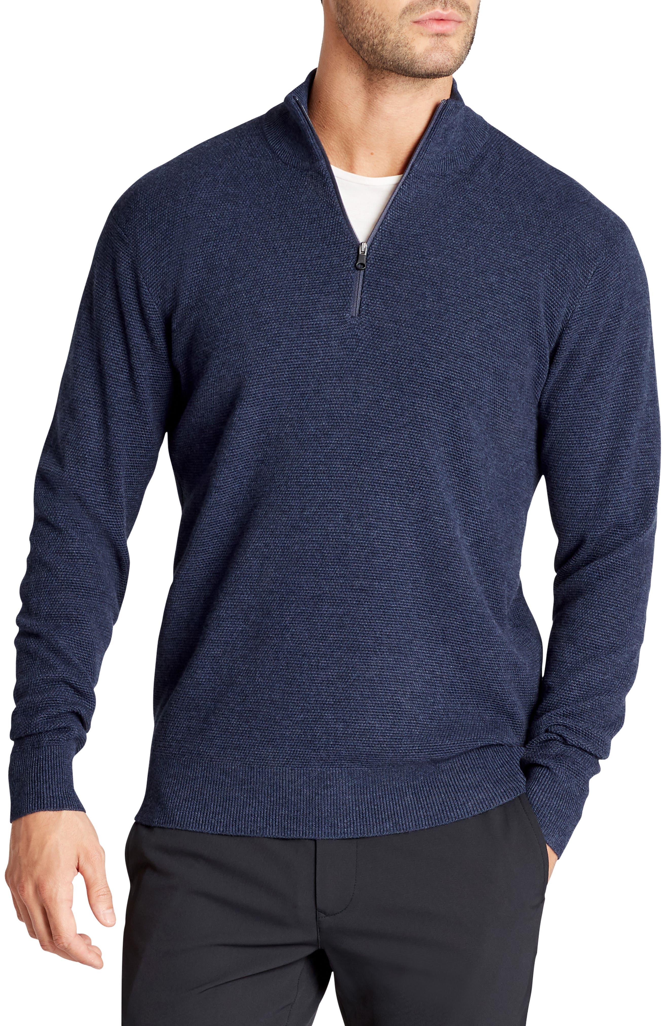 BONOBOS The Knockdown Quarter Zip Pullover, Main, color, HEATHER NAVY