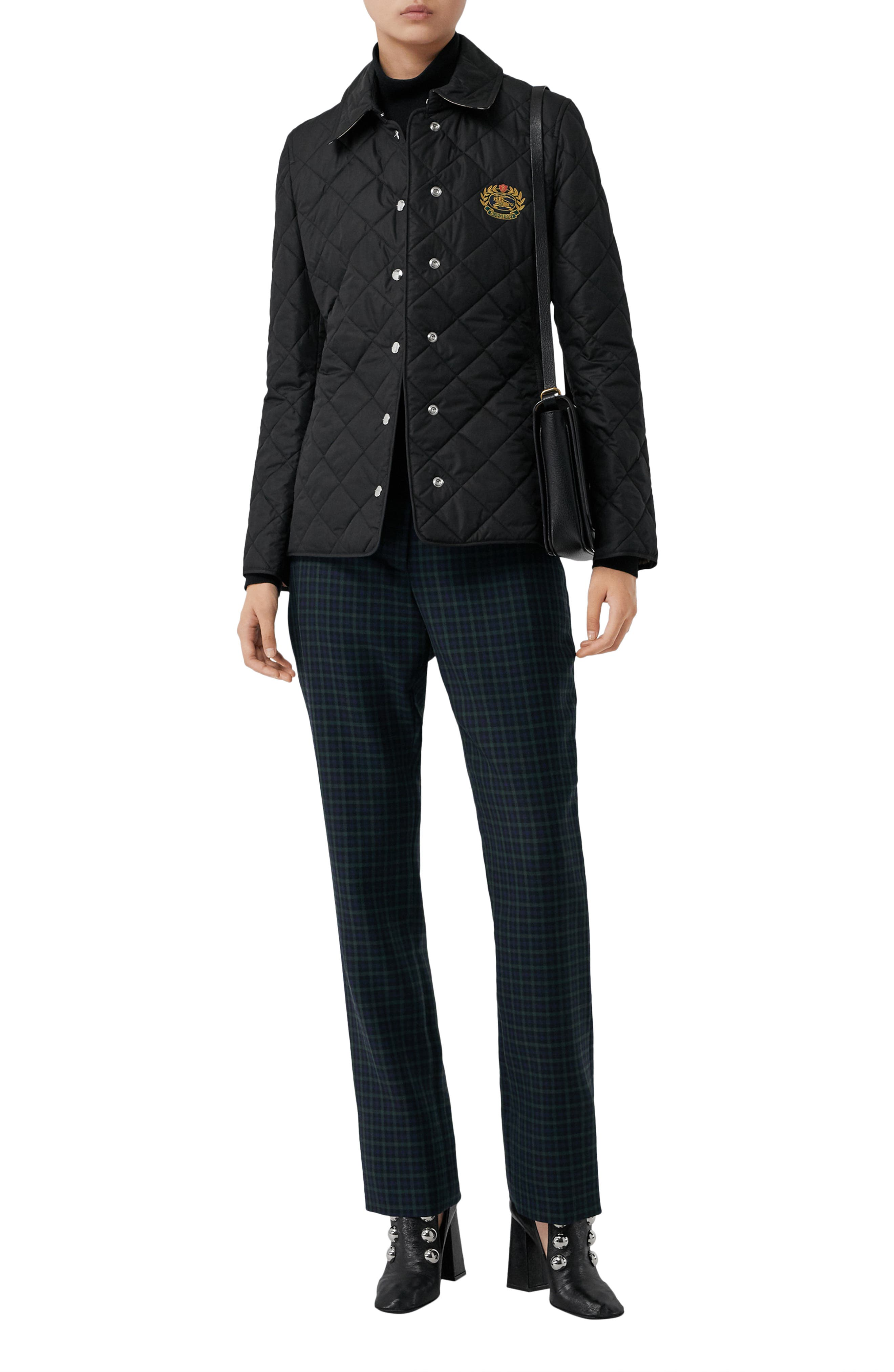 Franwell Diamond Quilted Jacket,                             Alternate thumbnail 6, color,                             BLACK