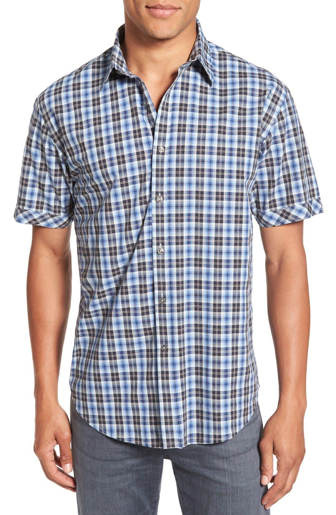 'Getafe' Regular Fit Short Sleeve Plaid Sport Shirt, Main, color, 450