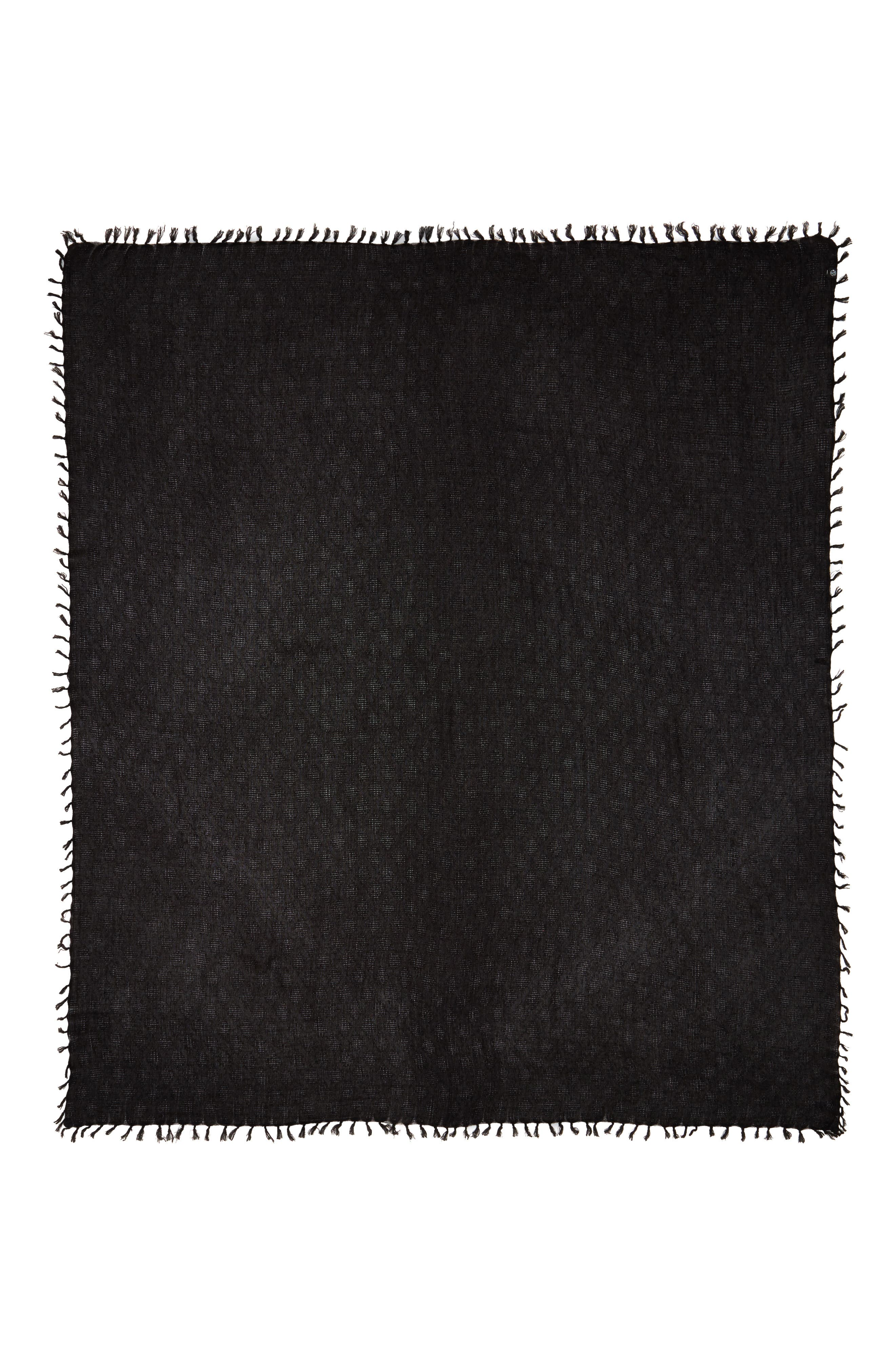 Solid Fringed Scarf,                             Alternate thumbnail 3, color,                             BLACK