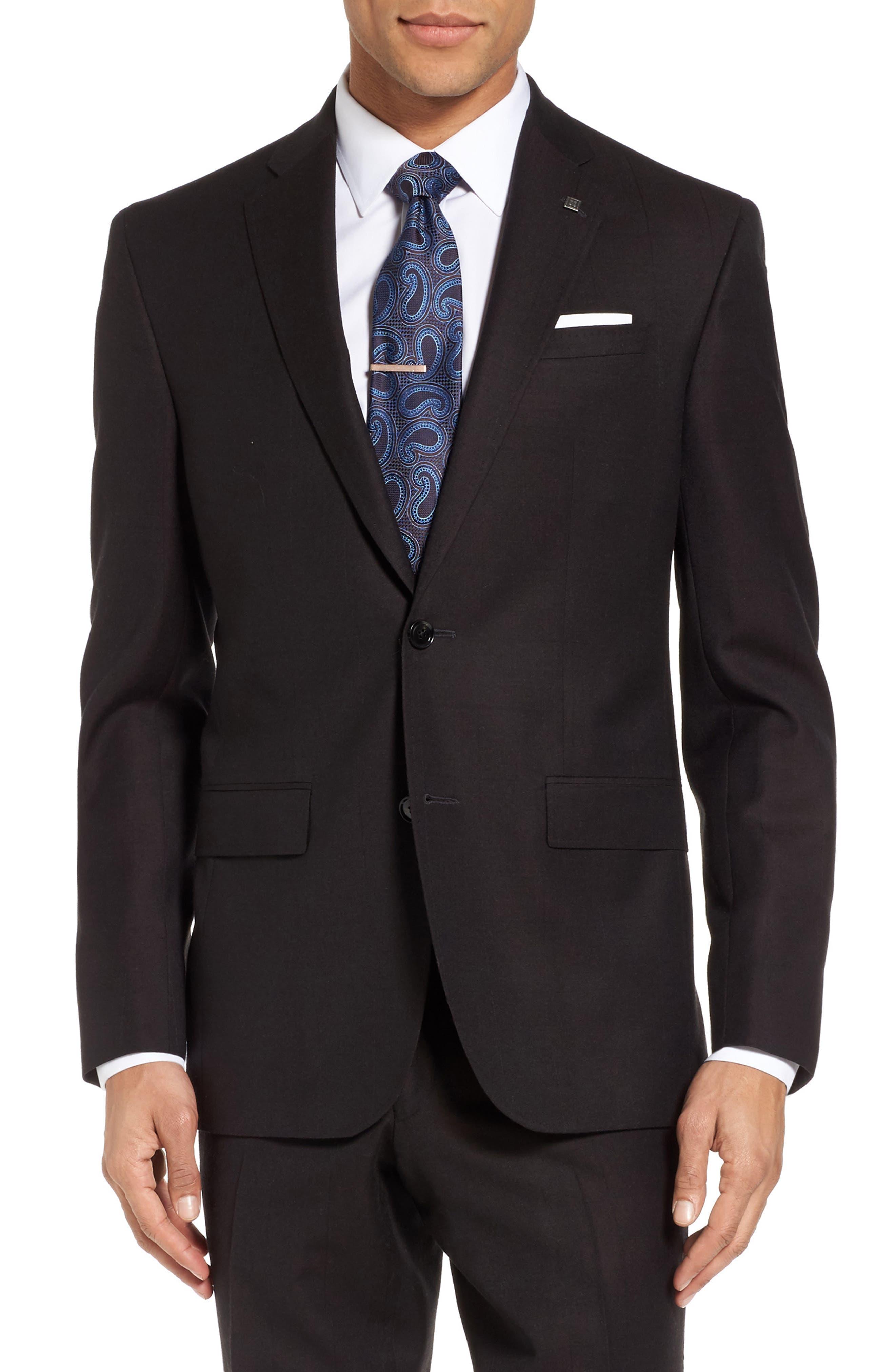 Jay Trim Fit Solid Wool Suit,                             Alternate thumbnail 5, color,                             200