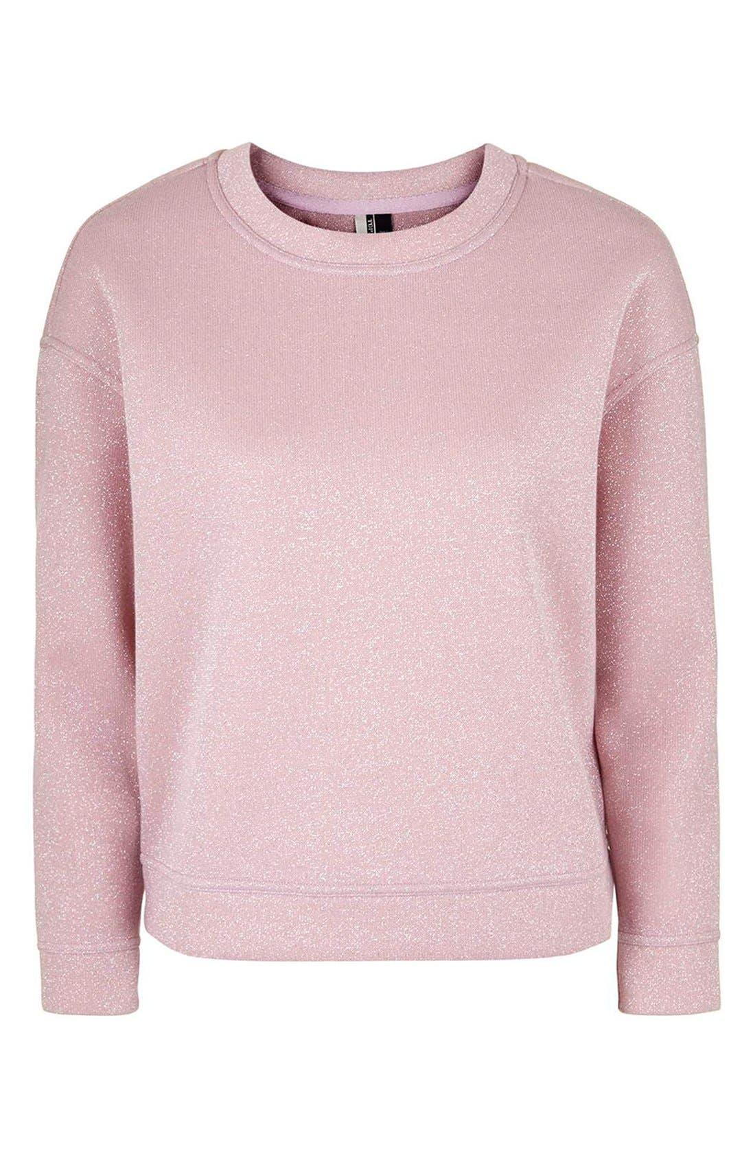 TOPSHOP,                             Glitter Sweatshirt,                             Alternate thumbnail 5, color,                             650