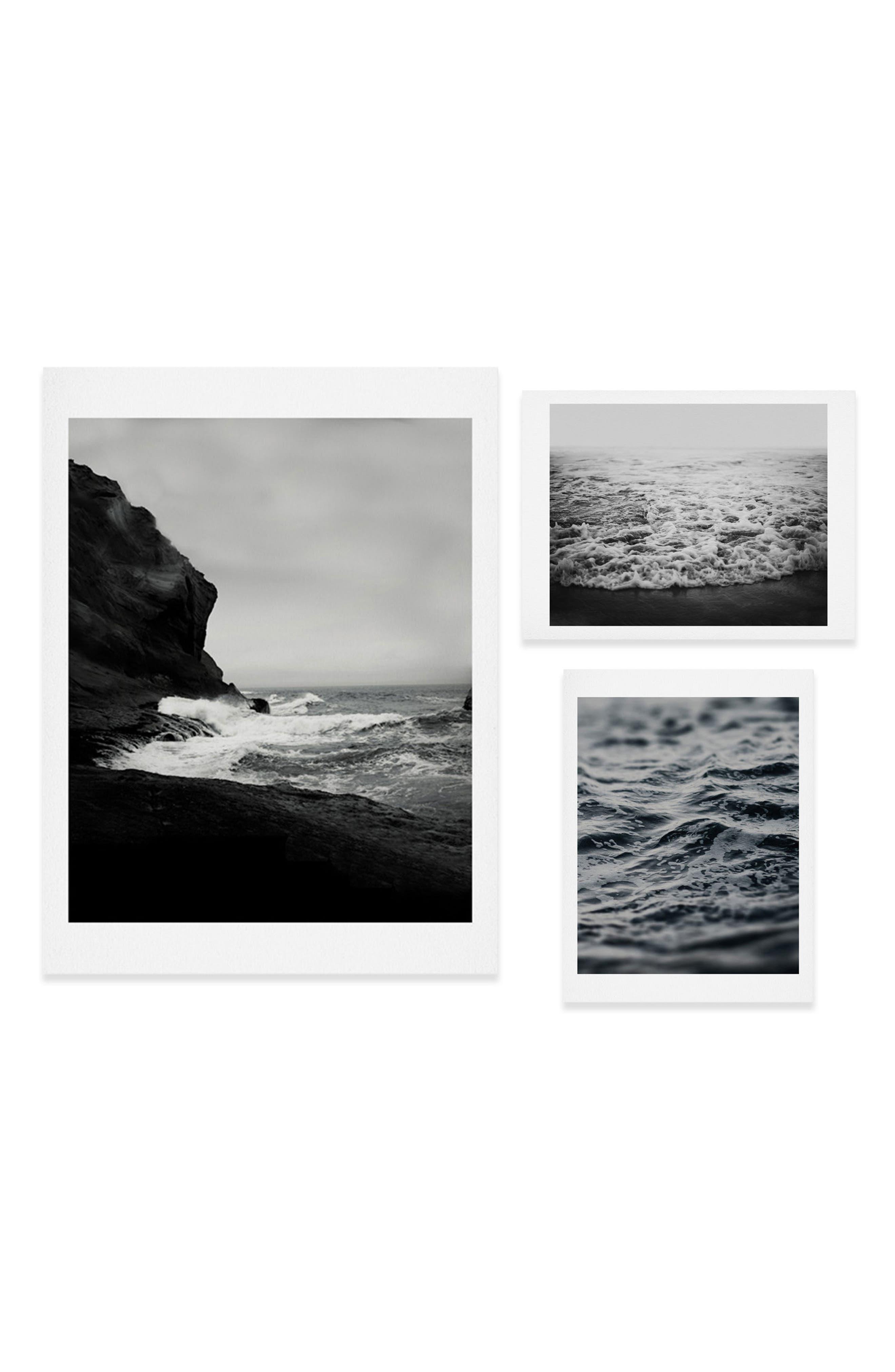 Waves Three-Piece Gallery Wall Art Print Set,                             Main thumbnail 1, color,                             BLACK/ WHITE
