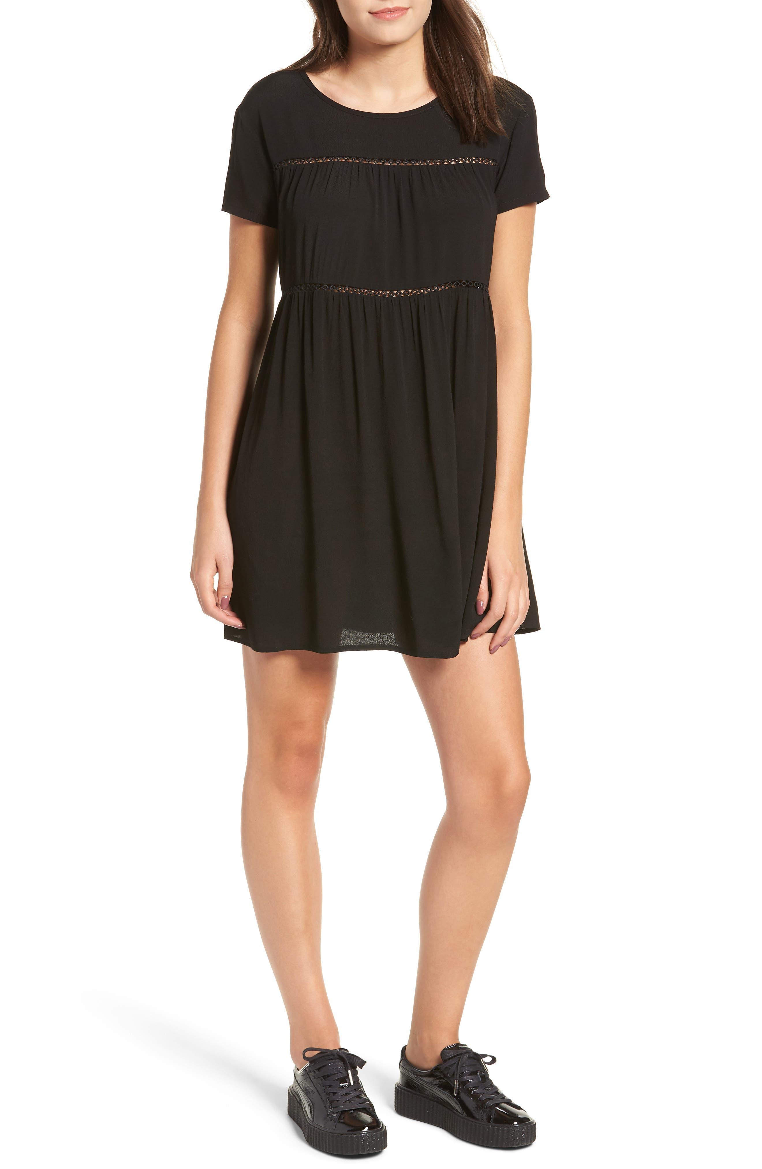LIRA CLOTHING,                             Amelia Silk Blend Babydoll Dress,                             Main thumbnail 1, color,                             BLACK