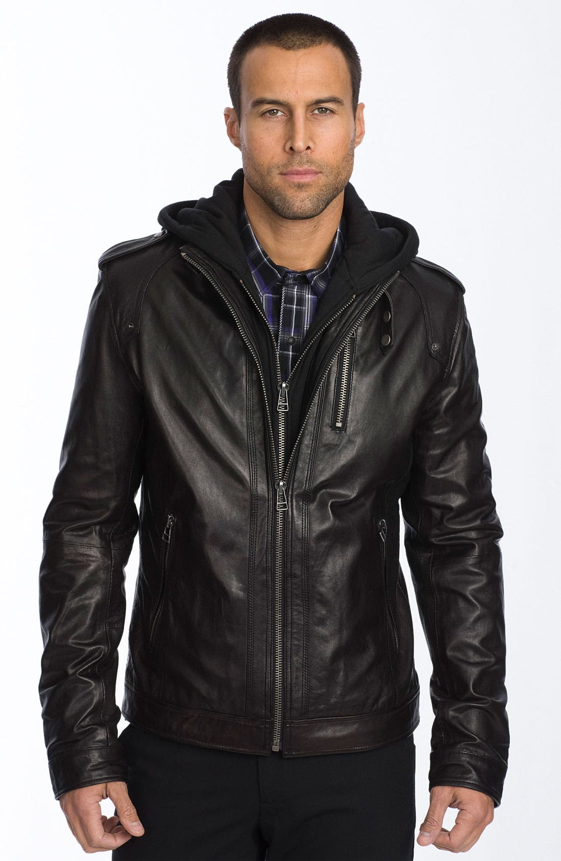 'Florence' Trim Fit Leather Jacket,                         Main,                         color, 001
