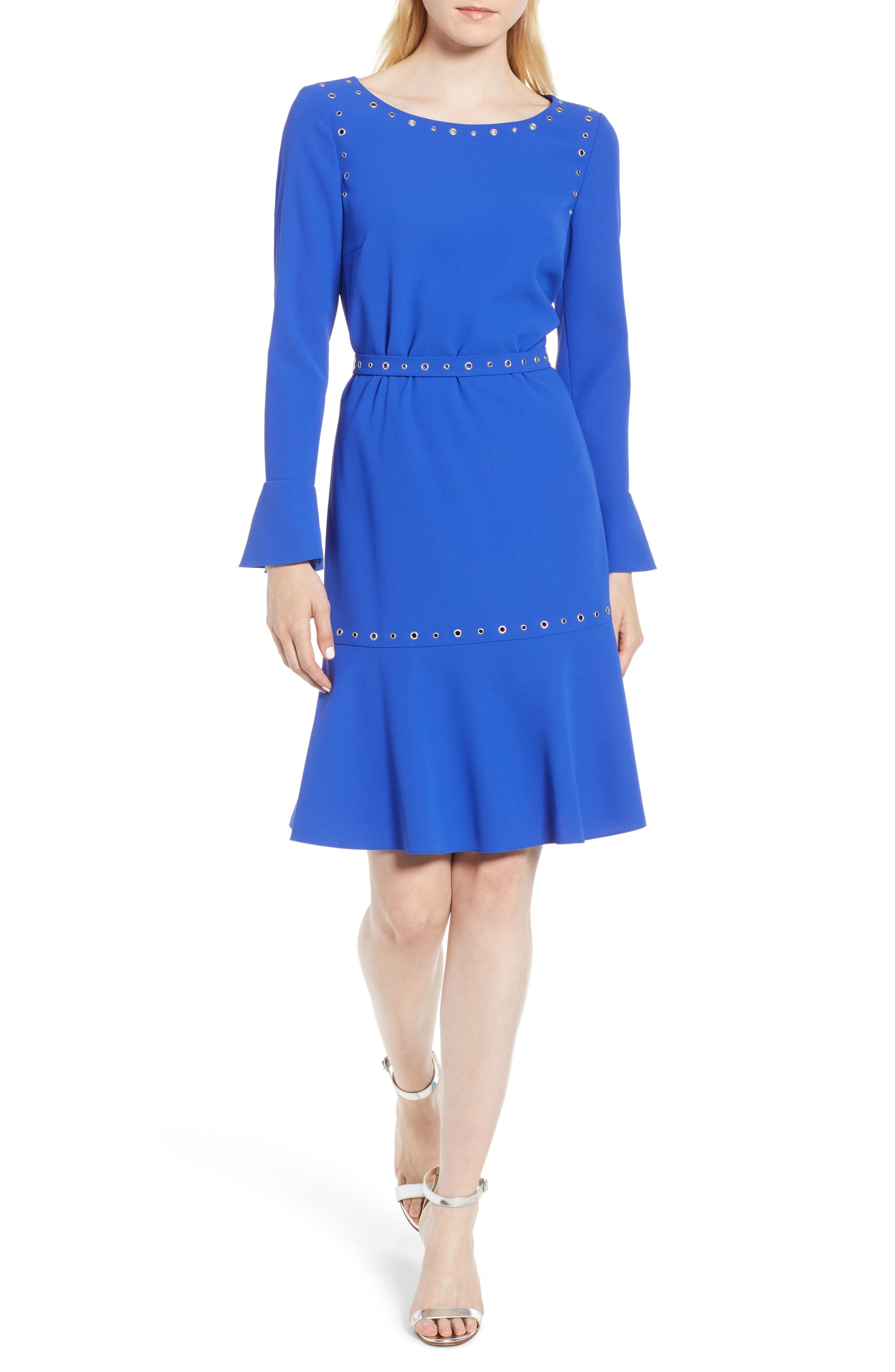Henryke Rivet Crepe Dress,                             Main thumbnail 1, color,                             SAILOR BLUE