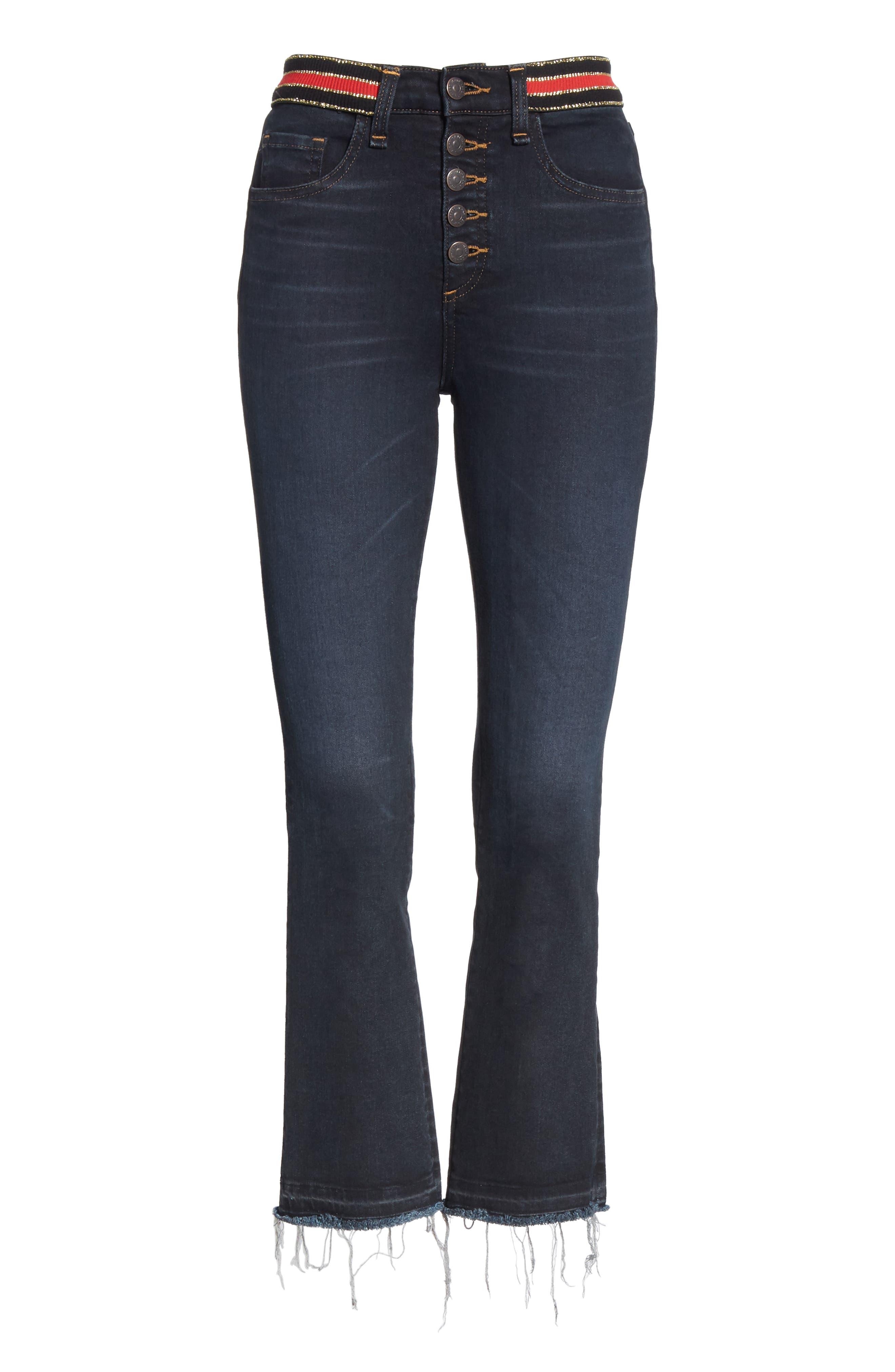 Carolyn Stripe Waist Crop Flare Jeans,                             Alternate thumbnail 6, color,                             DARK SLATE