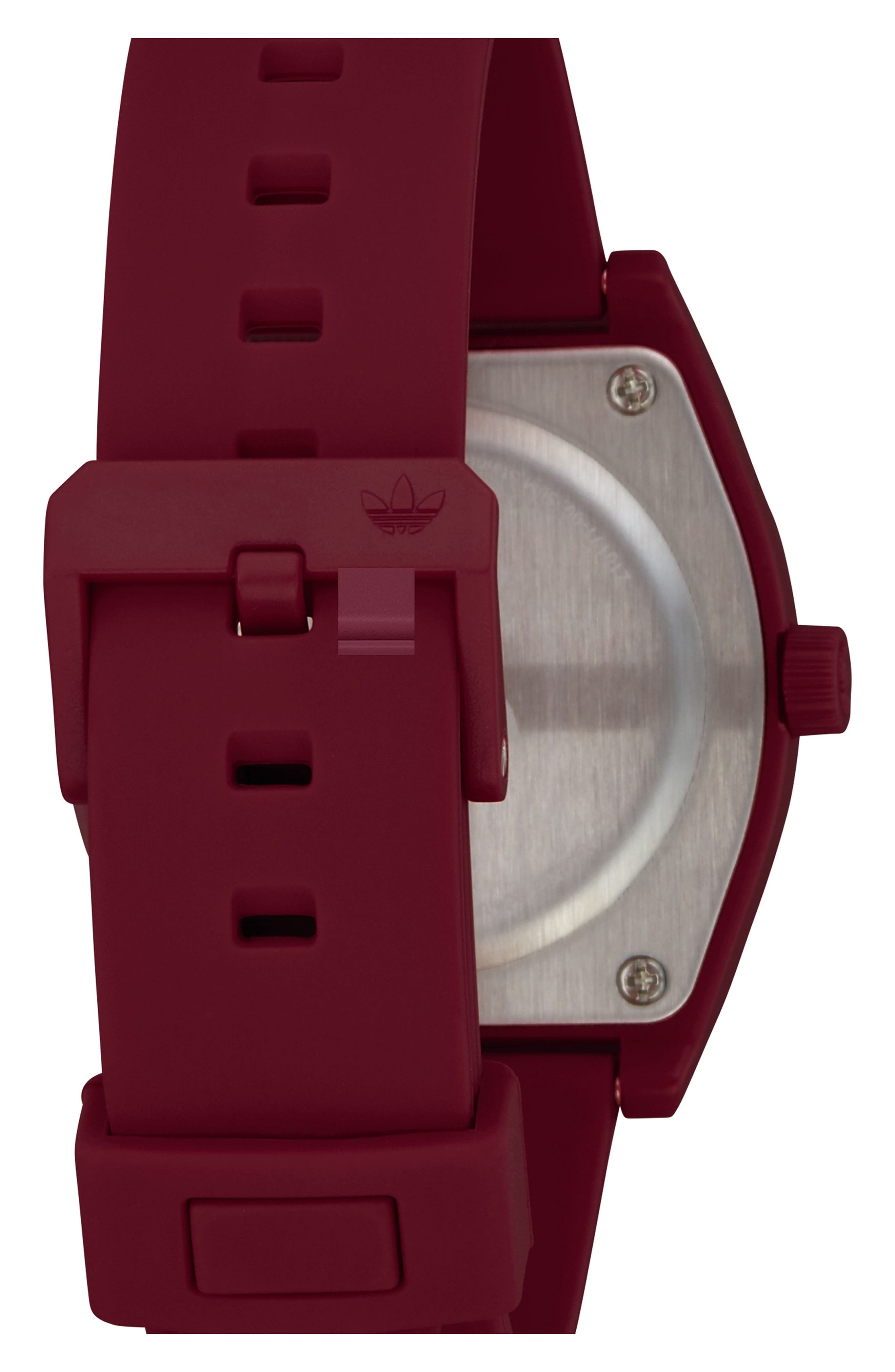 ADIDAS,                             Process Silicone Strap Watch, 38mm,                             Alternate thumbnail 2, color,                             BURGUNDY