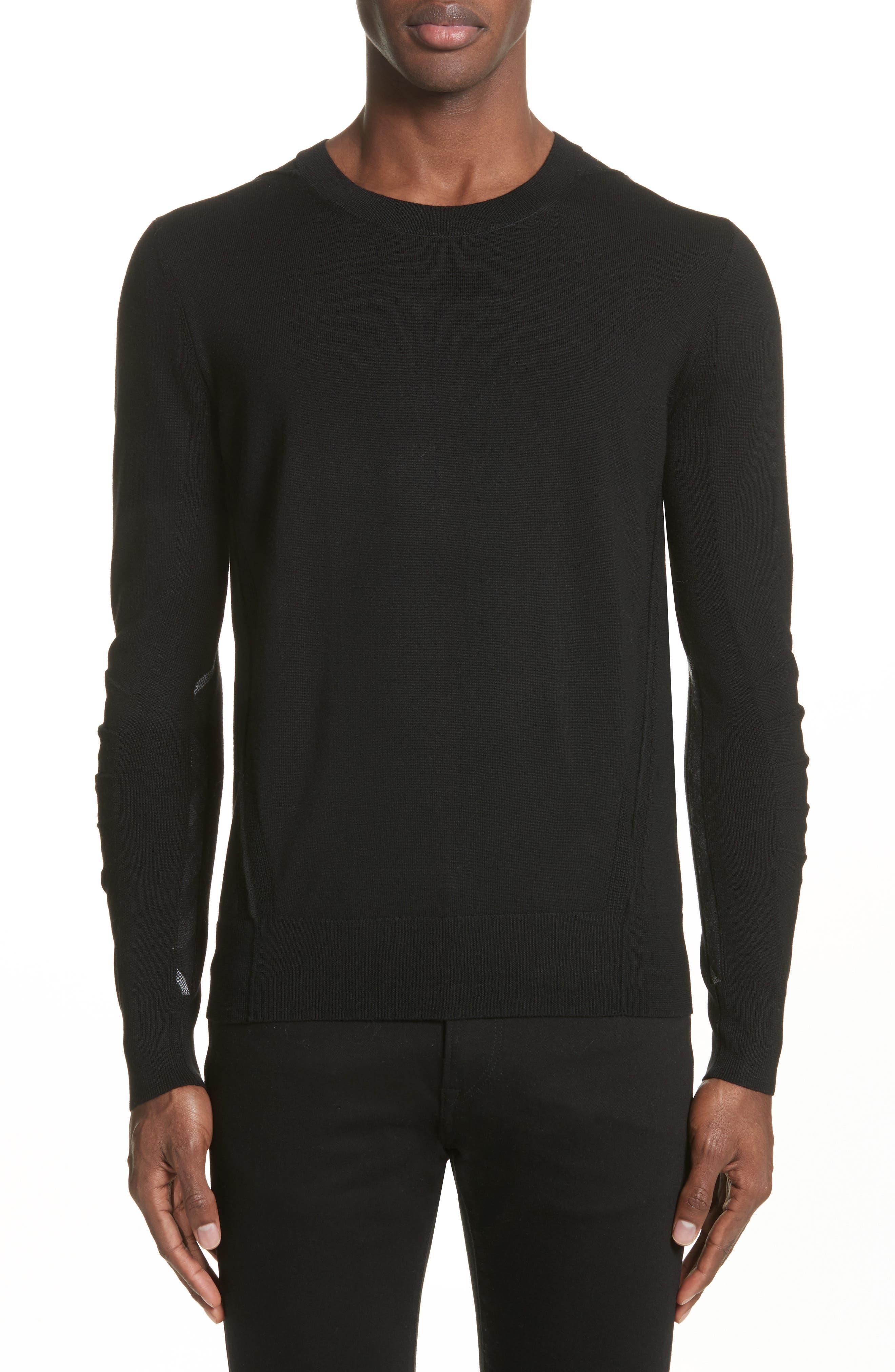 Carter Merino Wool Crewneck Sweater,                         Main,                         color, BLACK