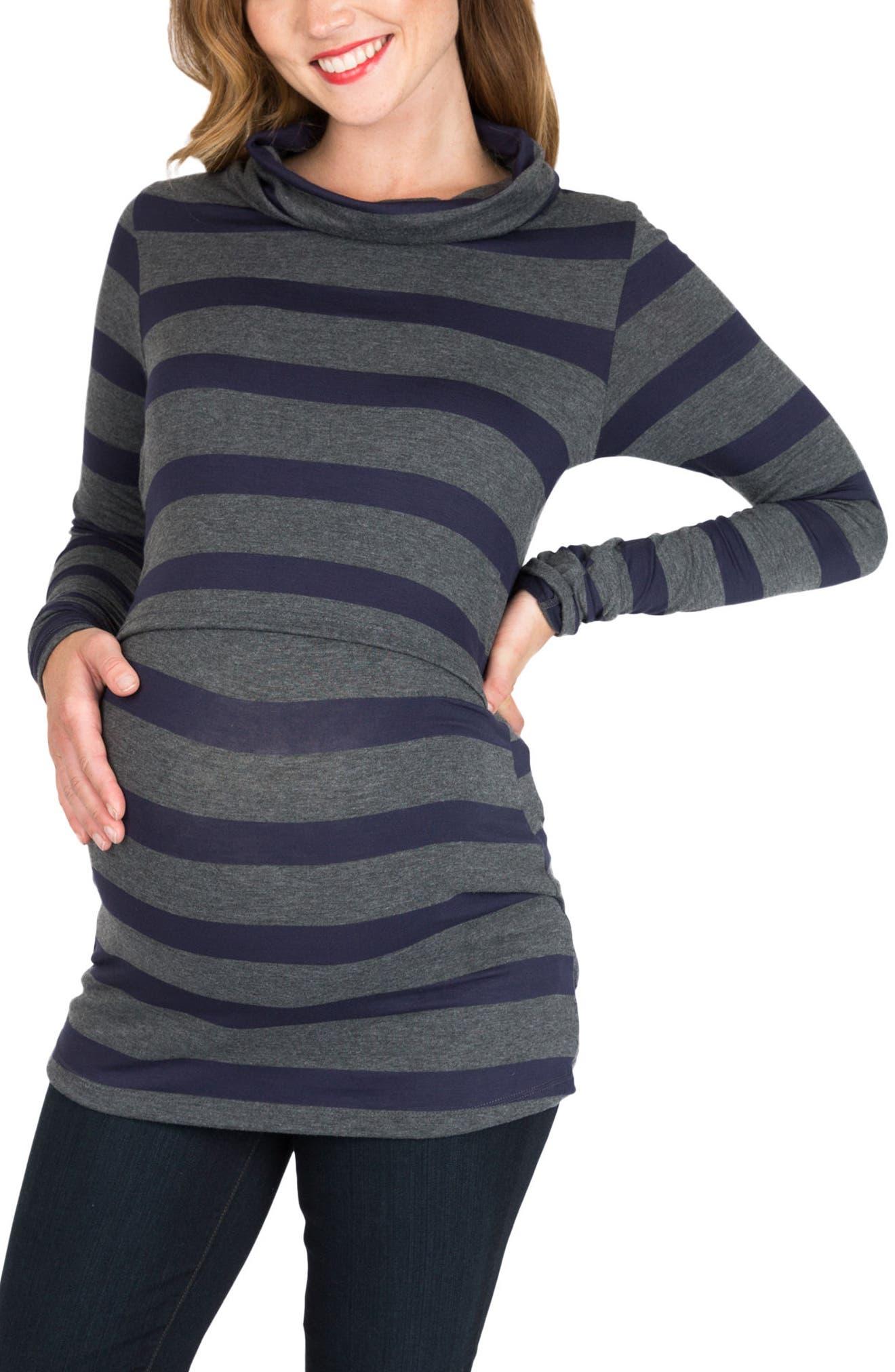 NOM Shelley Maternity/Nursing Turtleneck Tunic,                             Main thumbnail 1, color,                             CHARCOAL NAVY