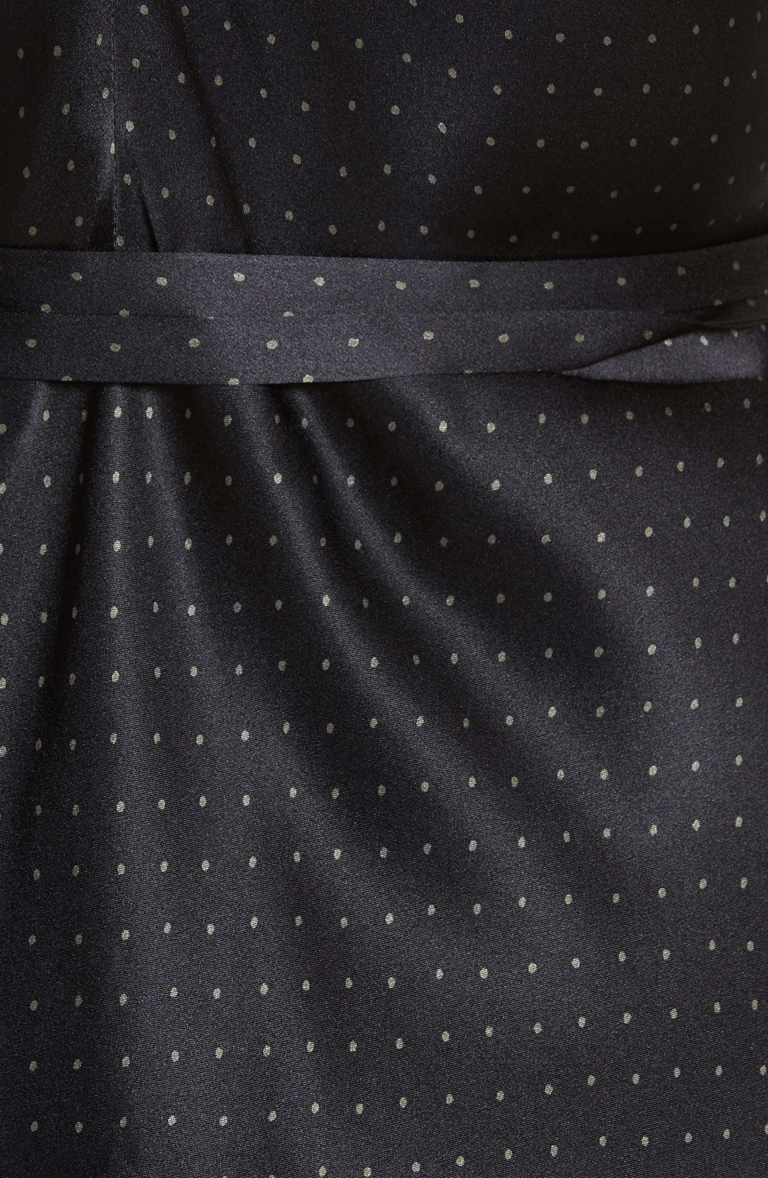 Vintage Polka Dot Faux Wrap Silk Dress,                             Alternate thumbnail 6, color,                             002
