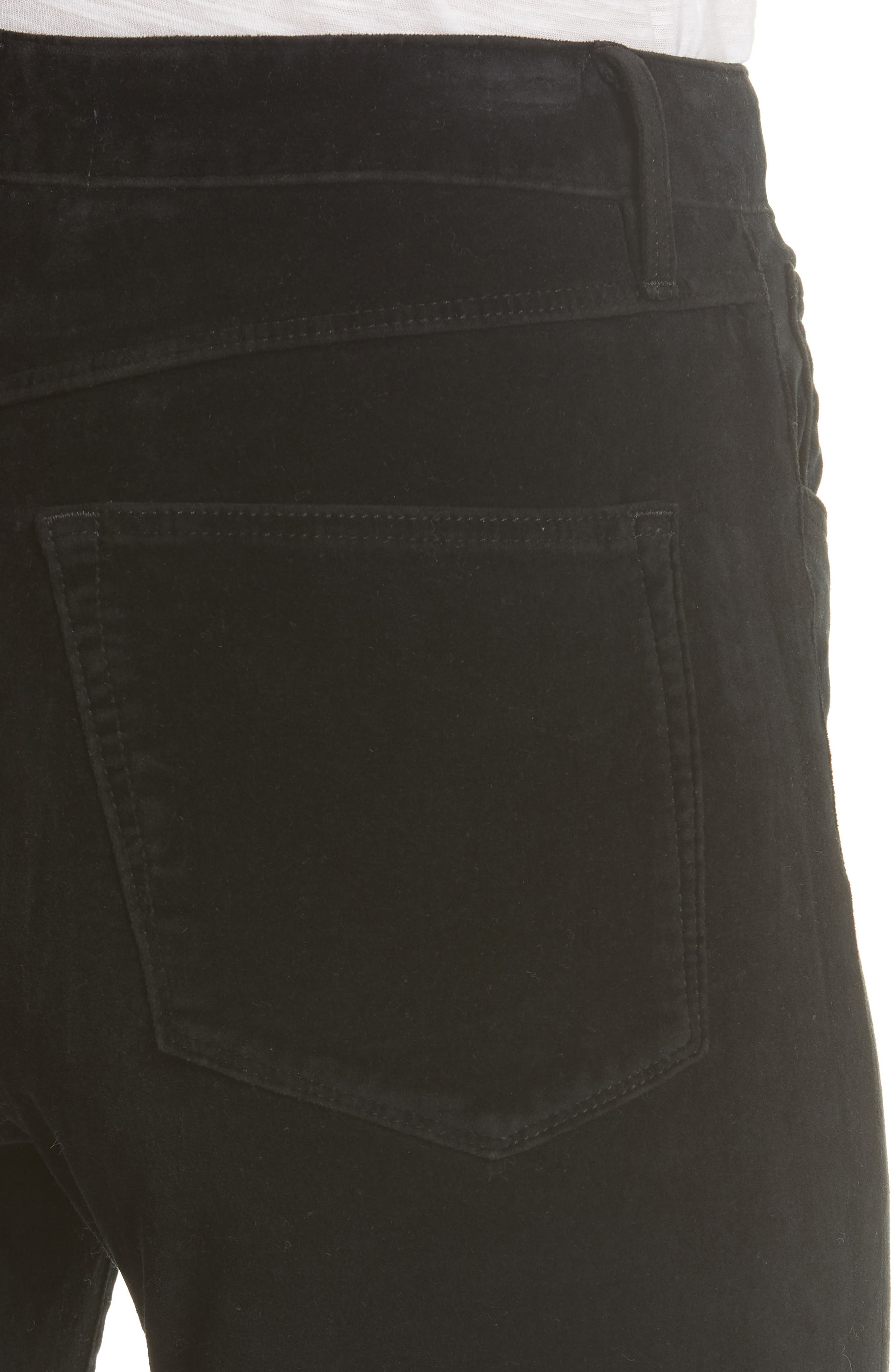W3 Higher Ground Mini Split Ankle Velvet Jeans,                             Alternate thumbnail 4, color,                             EBONY EBONY