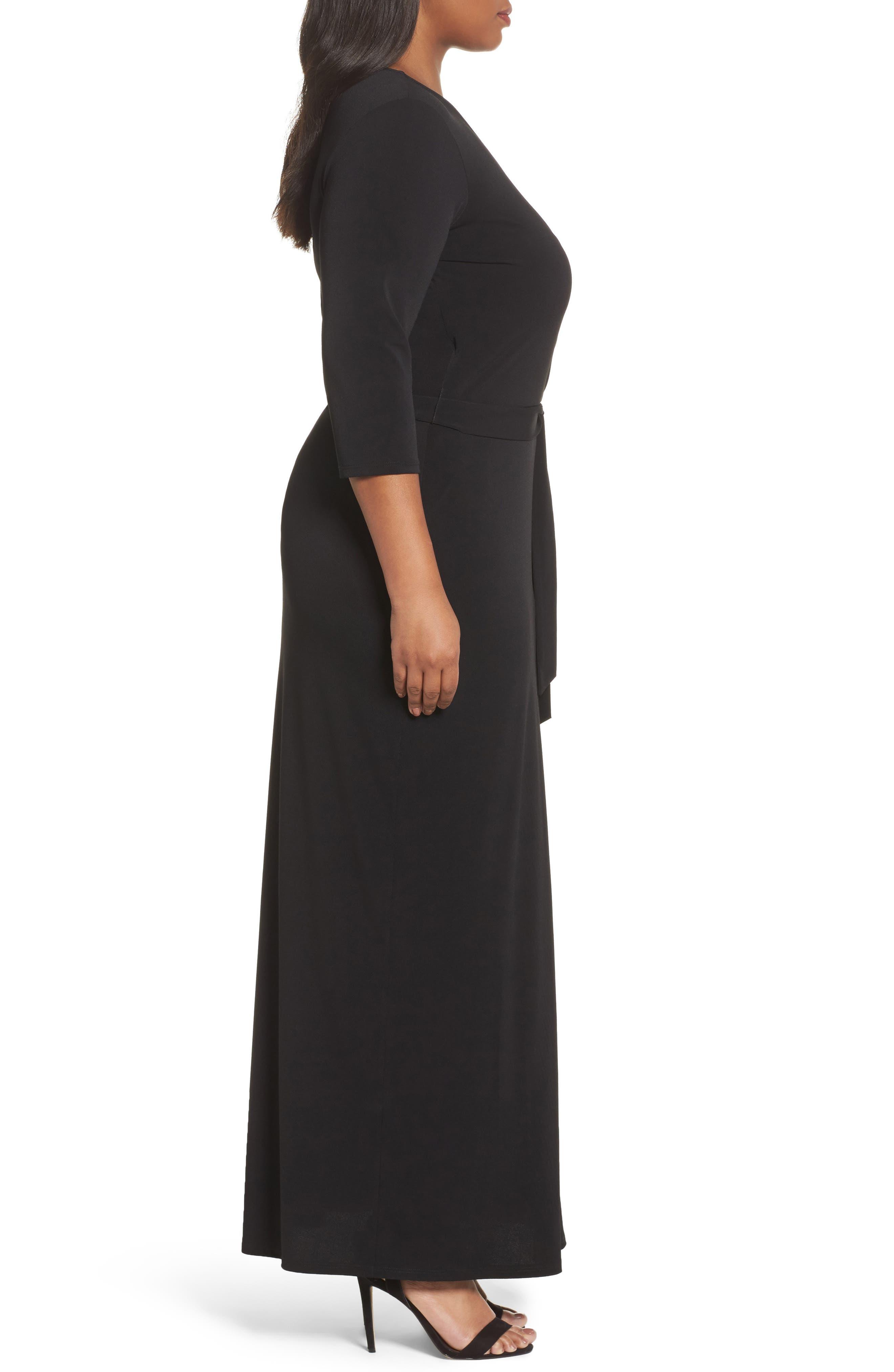 Perfect Faux Wrap Maxi Dress,                             Alternate thumbnail 3, color,                             002