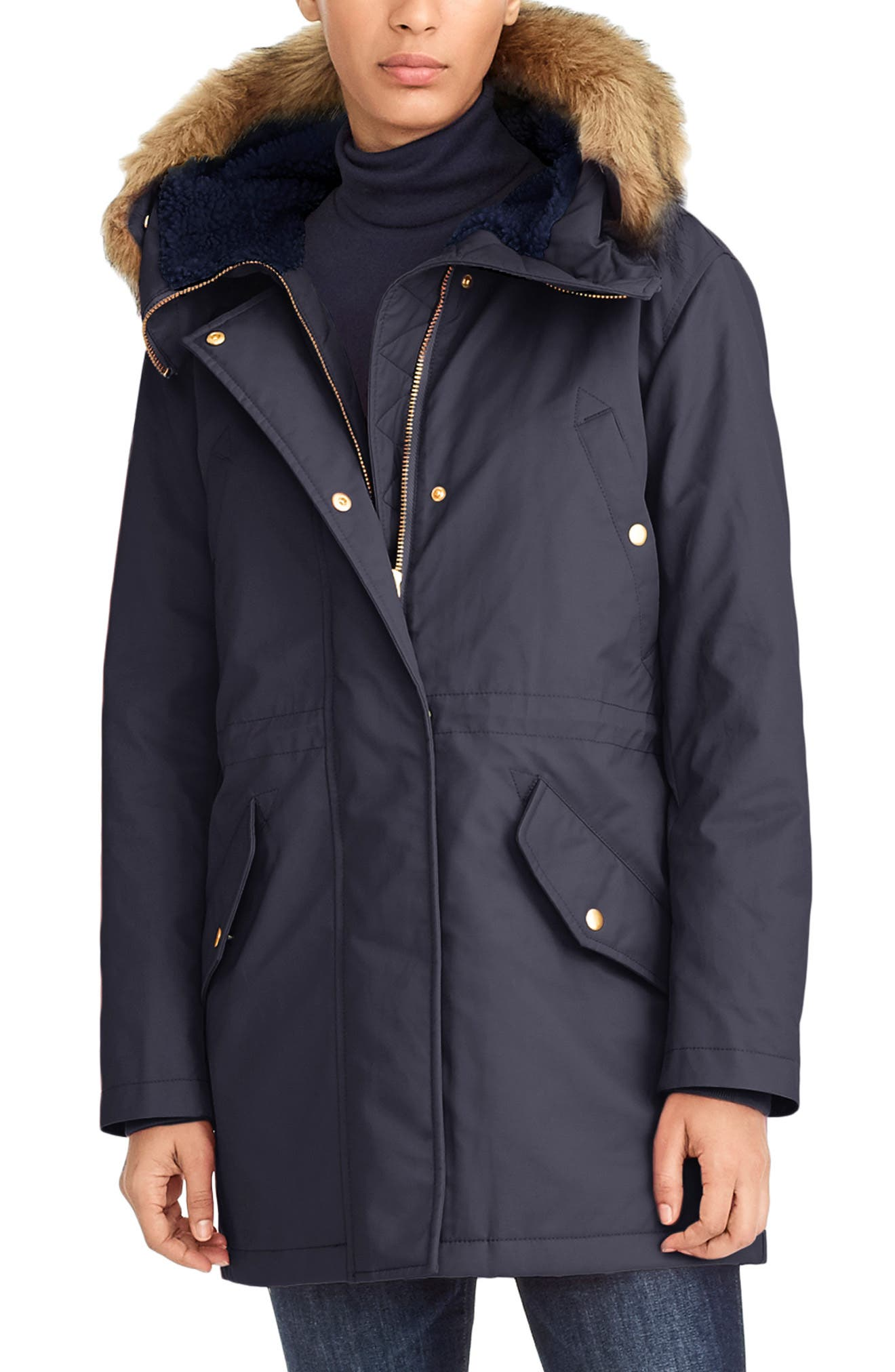 Perfect Winter Parka with Faux Fur Trim, Main, color, NAVY