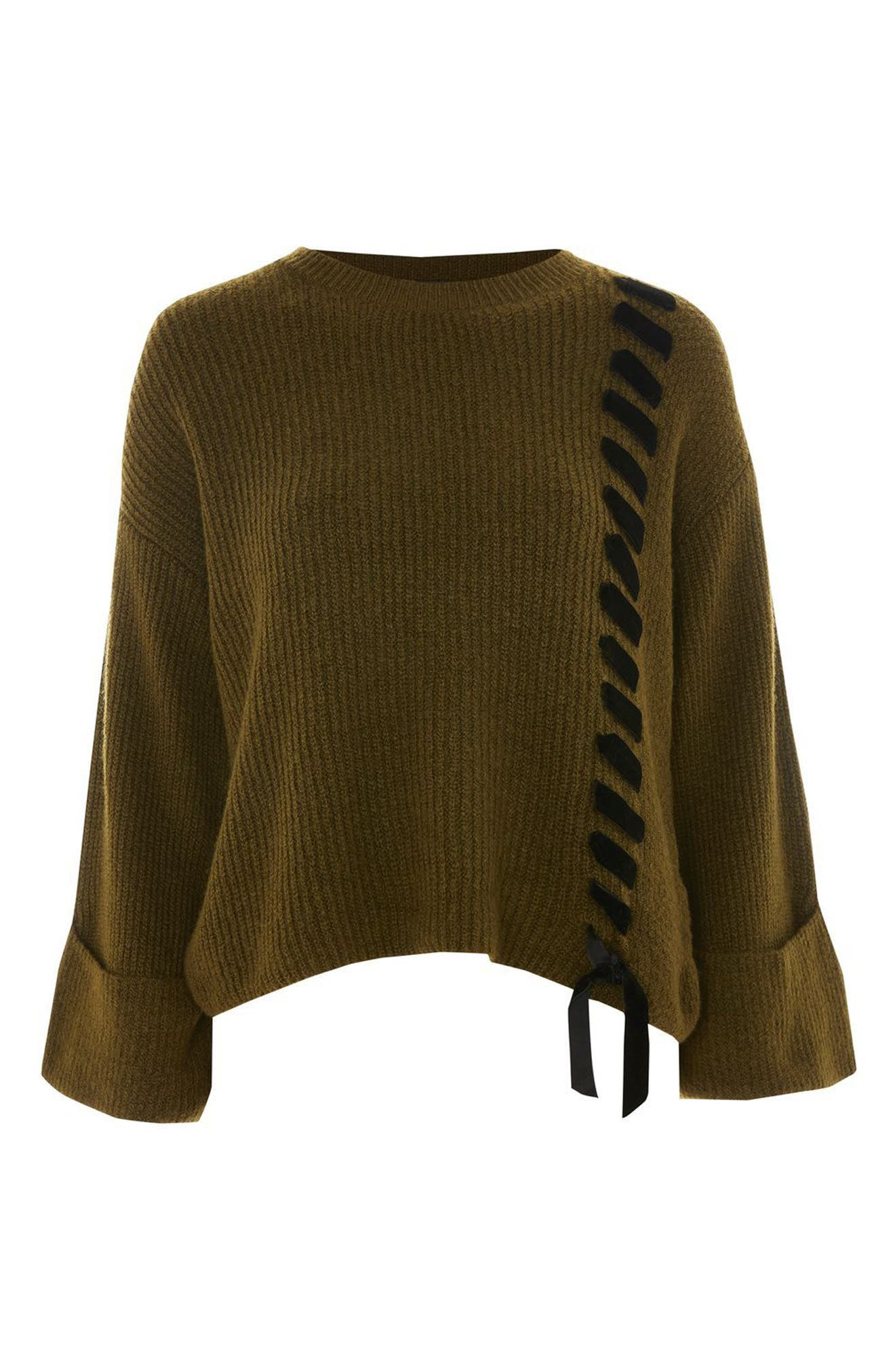Velvet Ribbon Cuffed Sweater,                             Alternate thumbnail 3, color,                             301