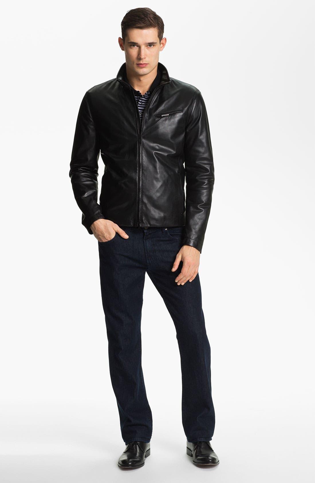 EMPORIO ARMANI,                             Armani Collezioni Blouson Leather Jacket,                             Alternate thumbnail 4, color,                             001