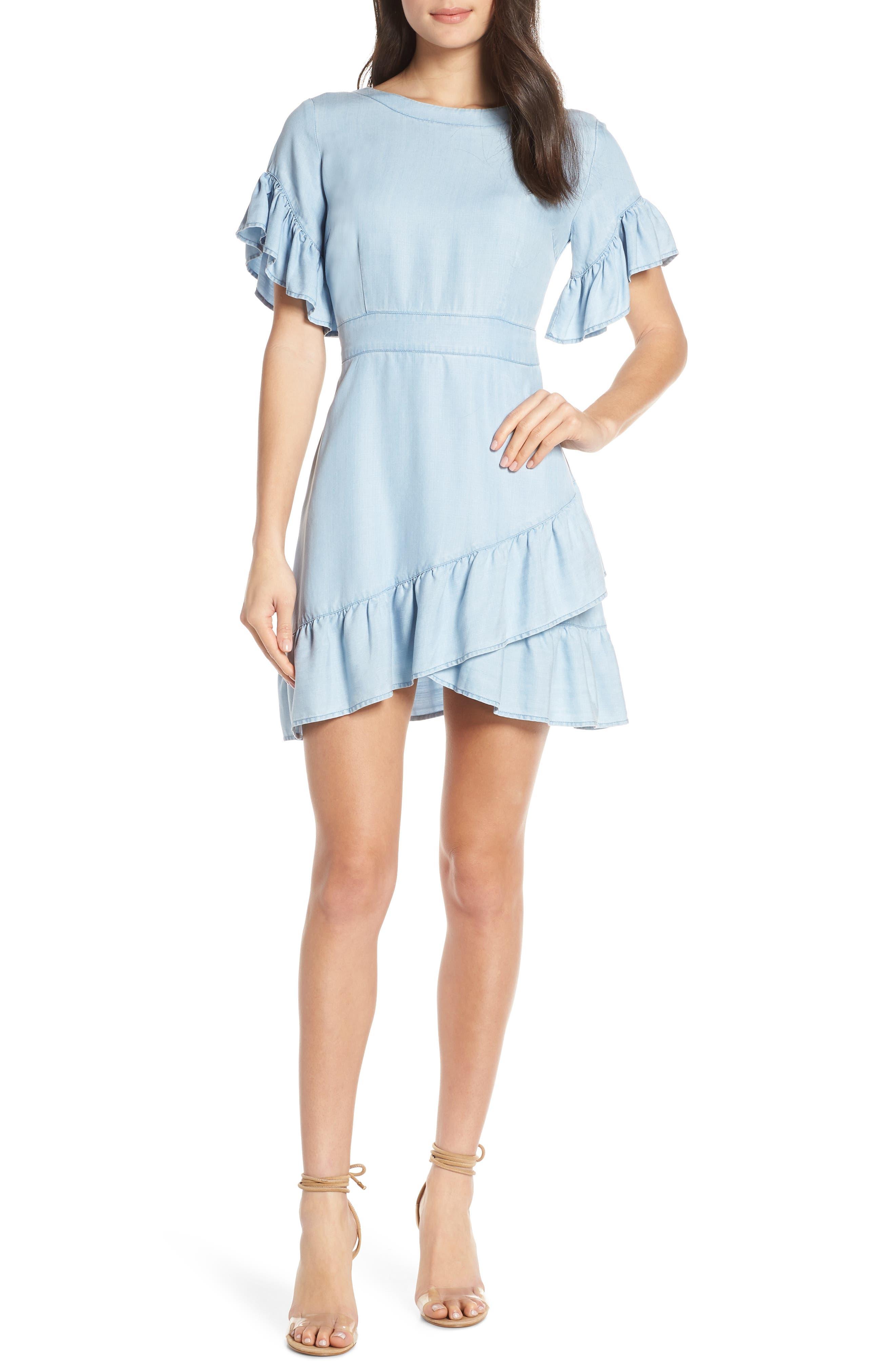 Bb Dakota Indigo Dreams Tulip Dress, Blue