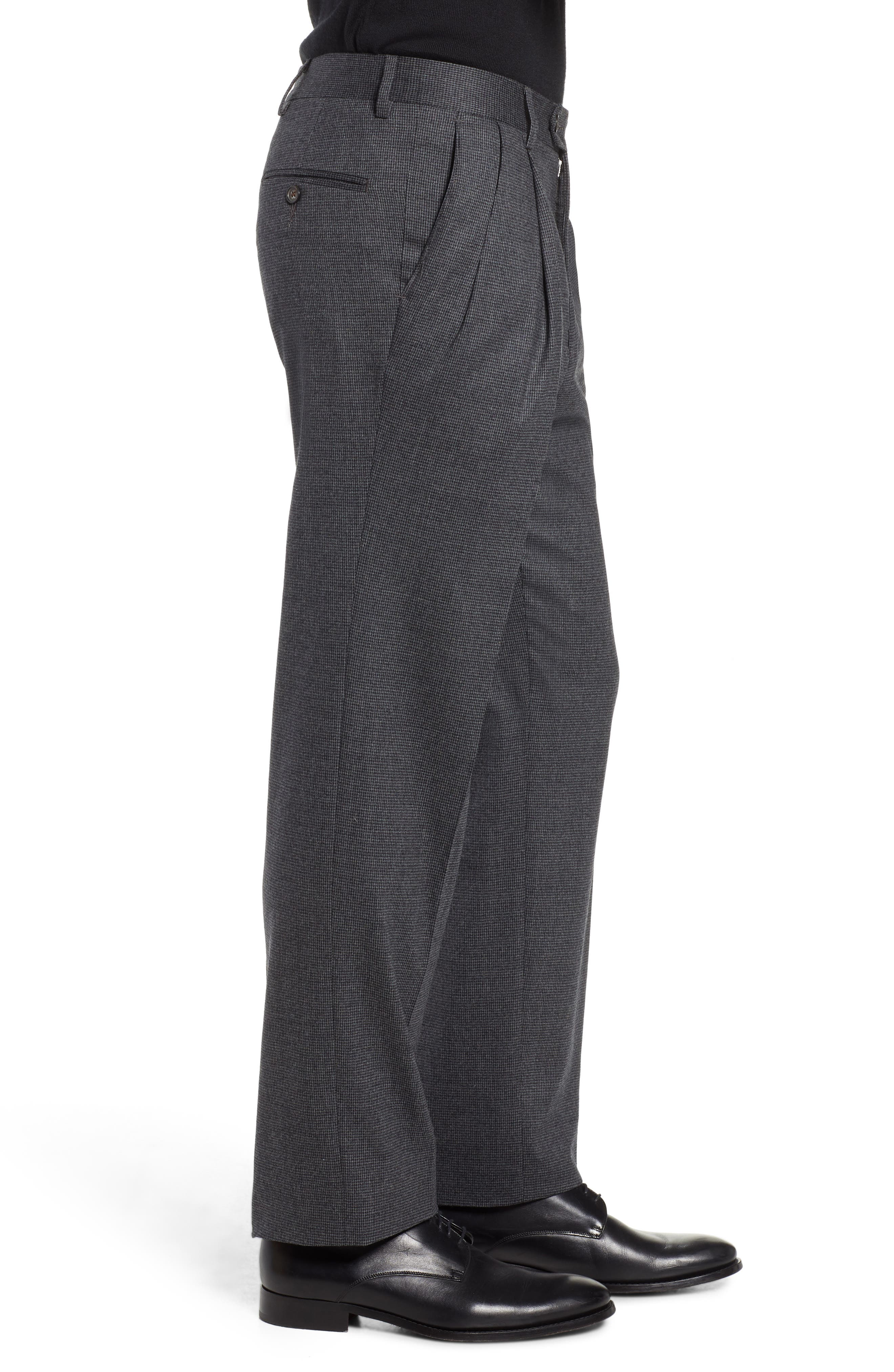 Pleated Stretch Houndstooth Wool Trousers,                             Alternate thumbnail 3, color,                             GREY