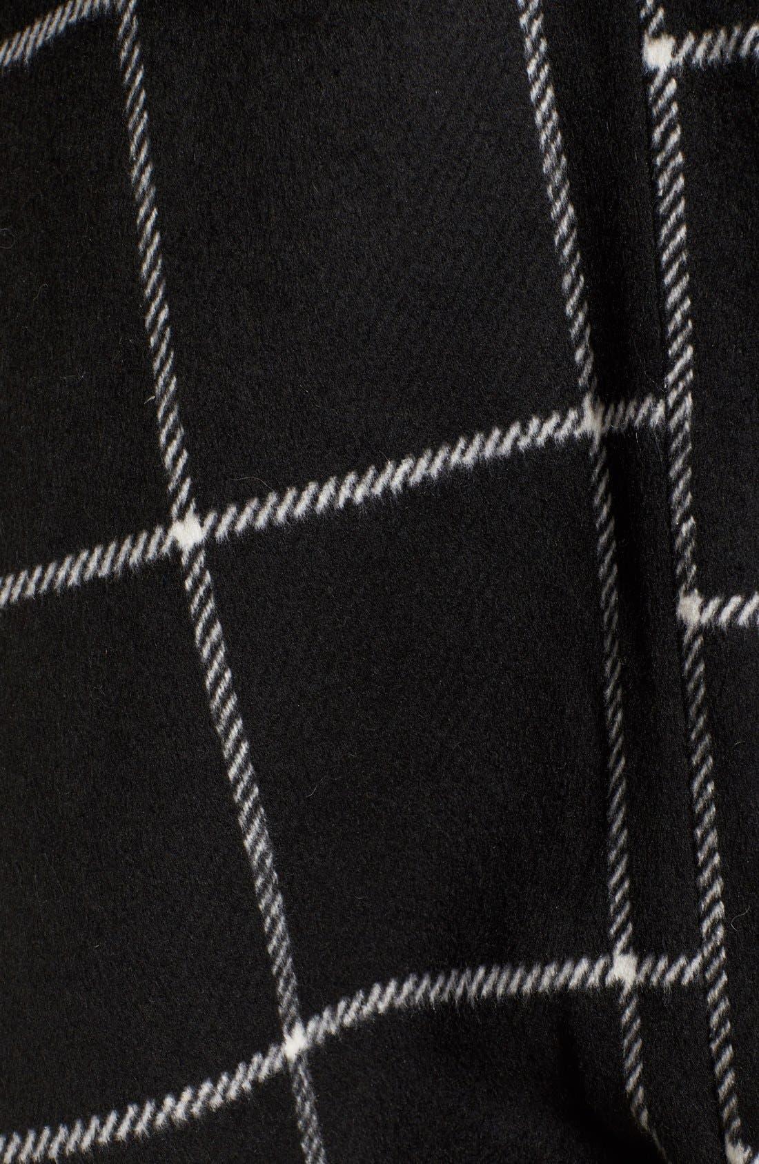 'Braylee' Windowpane Plaid Midi Coat,                             Alternate thumbnail 5, color,                             001