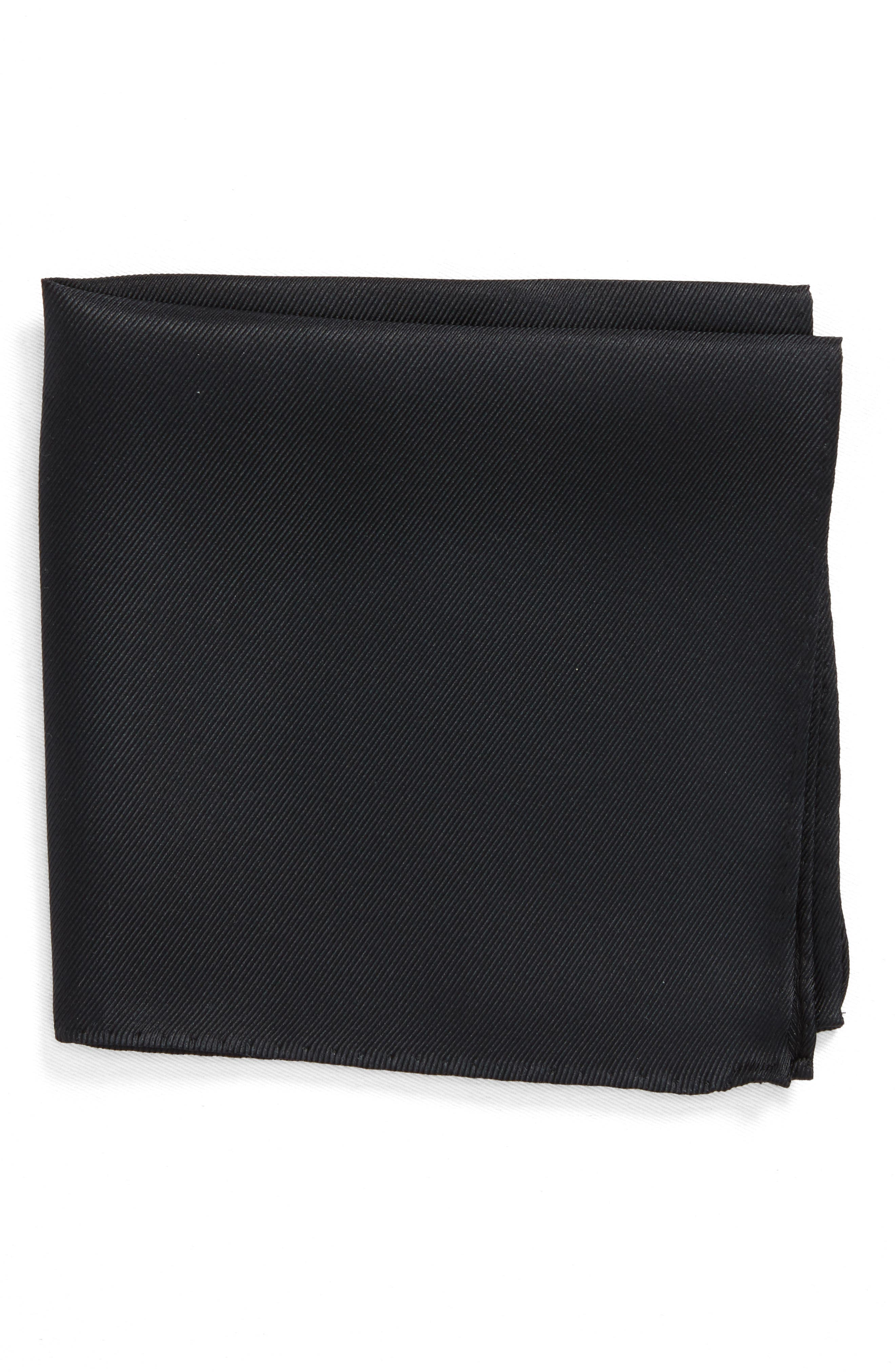 King Twill Silk Pocket Square,                         Main,                         color, BLACK