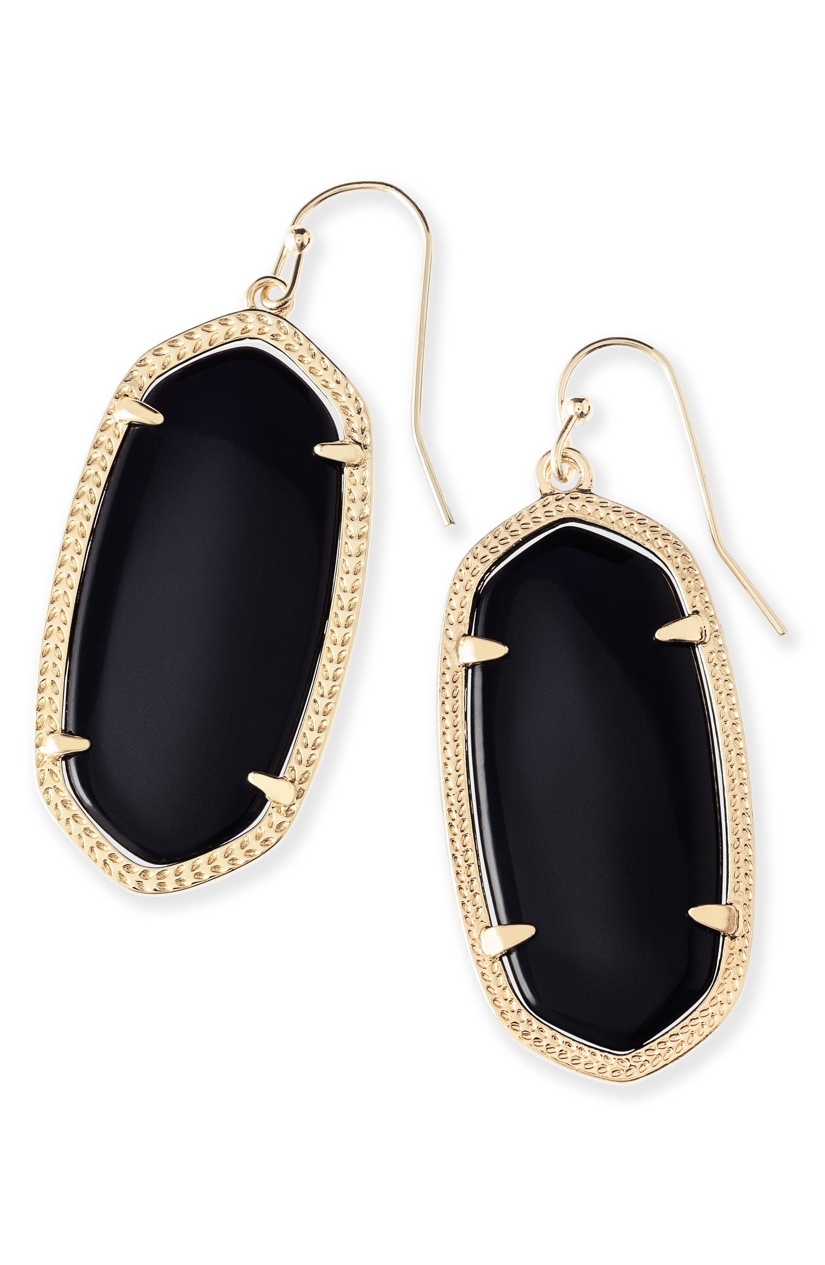 Elle Filigree Drop Earrings,                             Alternate thumbnail 4, color,                             BLACK/ GOLD