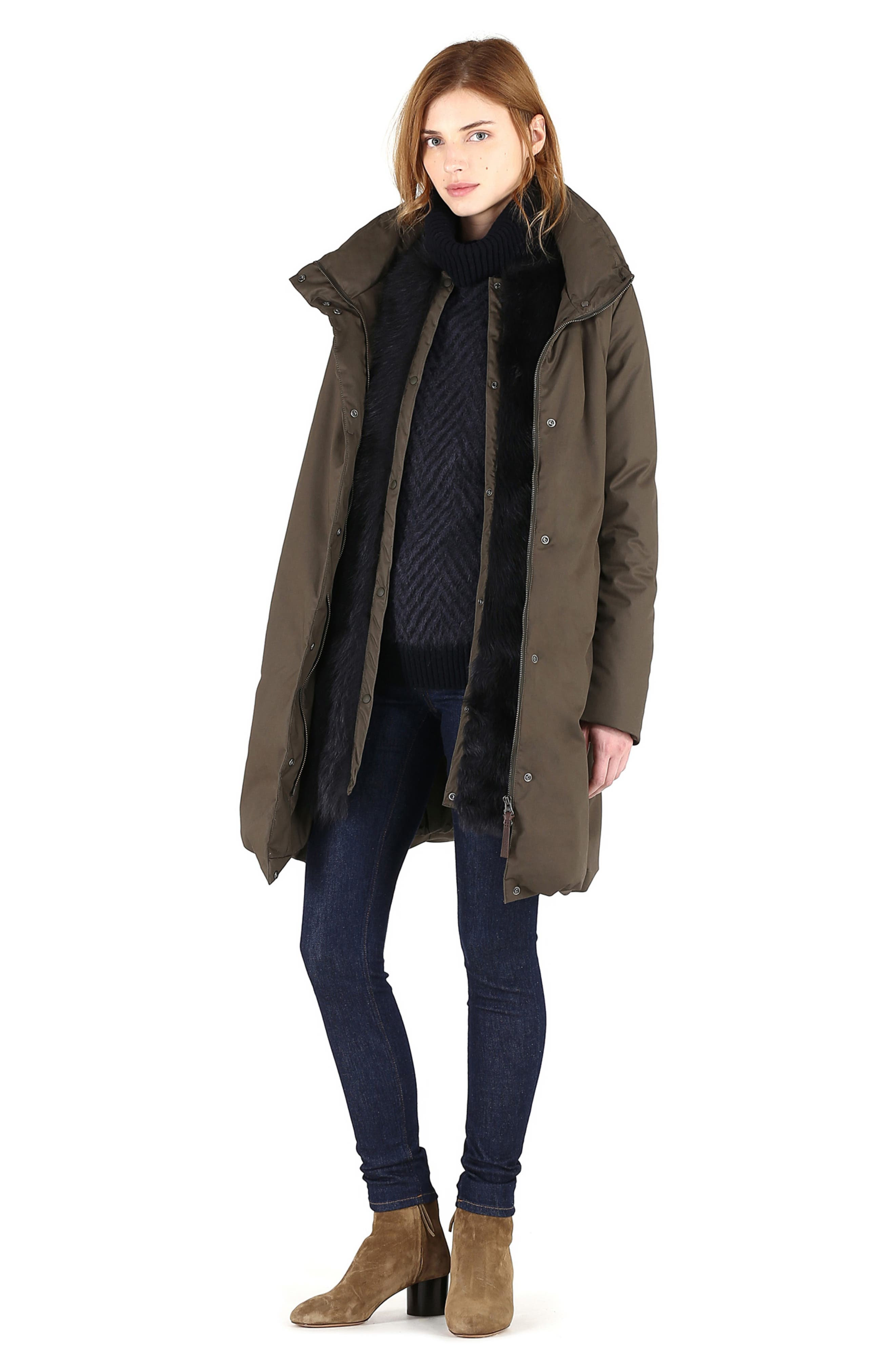 Cocoon Genuine Shearling Lined Down Coat,                             Alternate thumbnail 7, color,                             MILITARY OLIVE