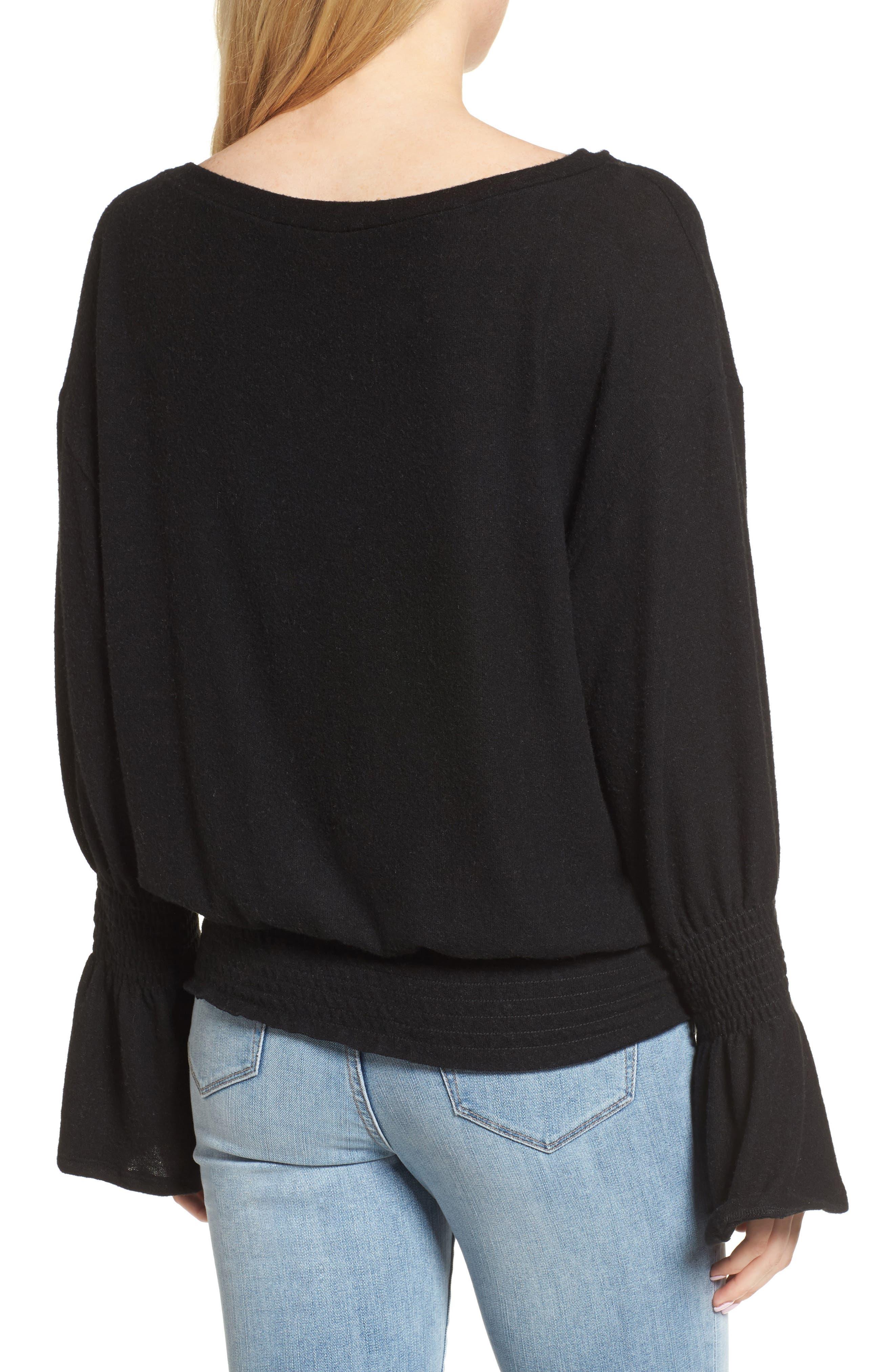 Brushed Smocked Sweatshirt,                             Alternate thumbnail 2, color,                             001