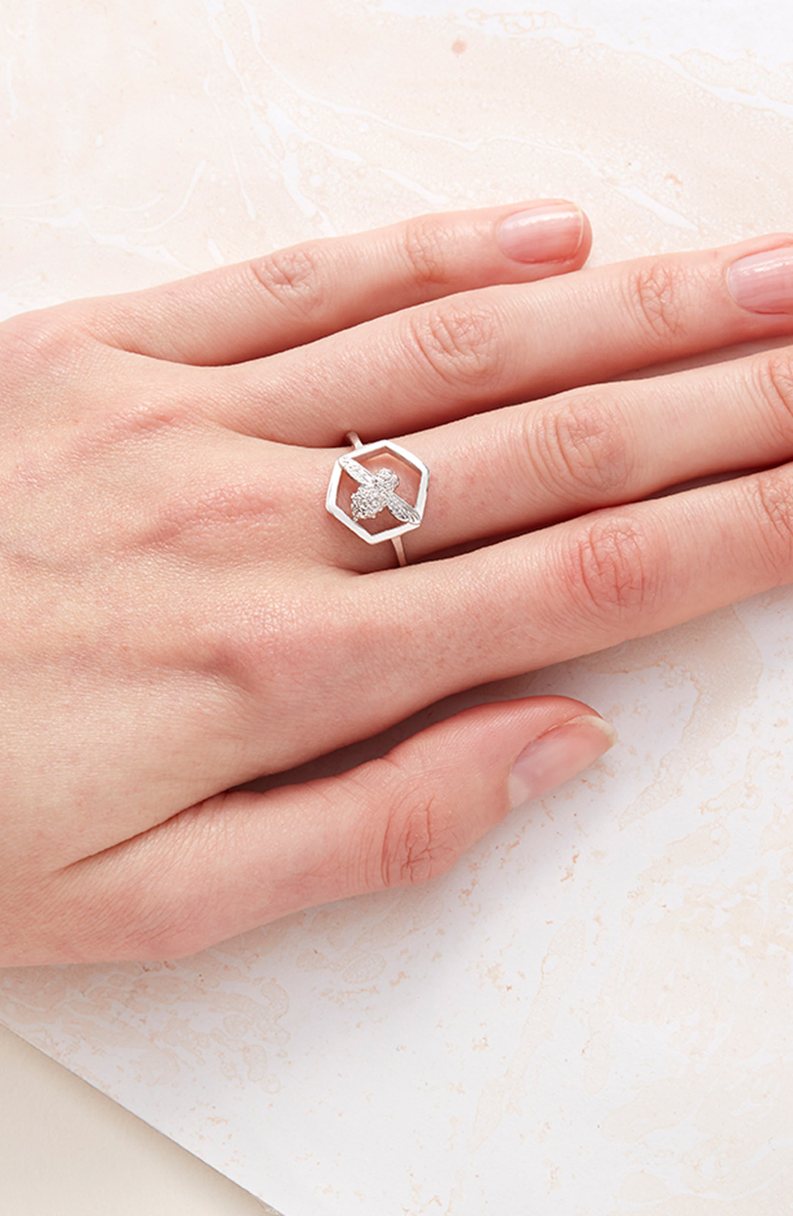 Honeycomb Bee Ring,                             Alternate thumbnail 2, color,                             SILVER