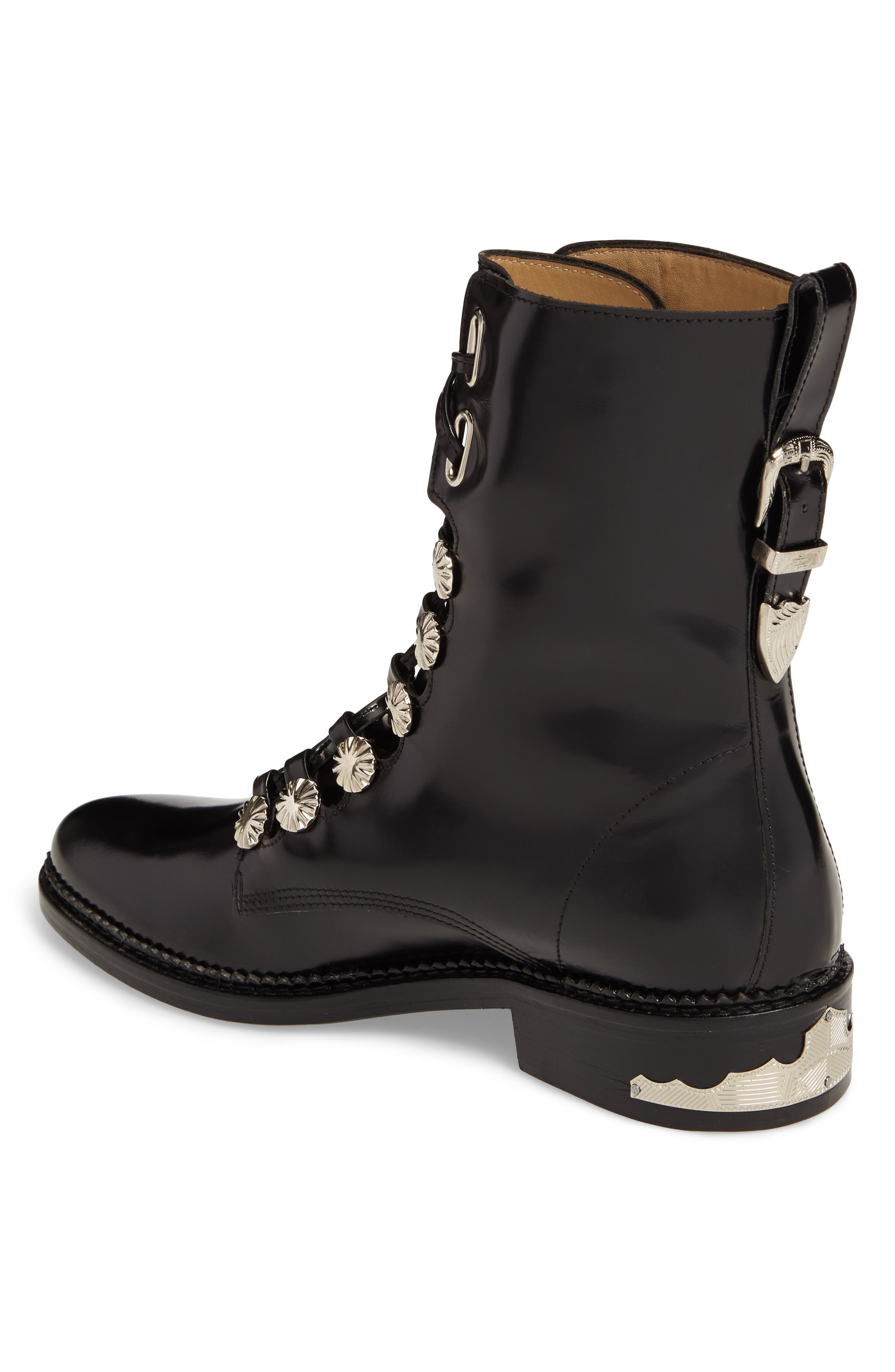 Embellished Lace-Up Boot,                             Alternate thumbnail 2, color,                             001