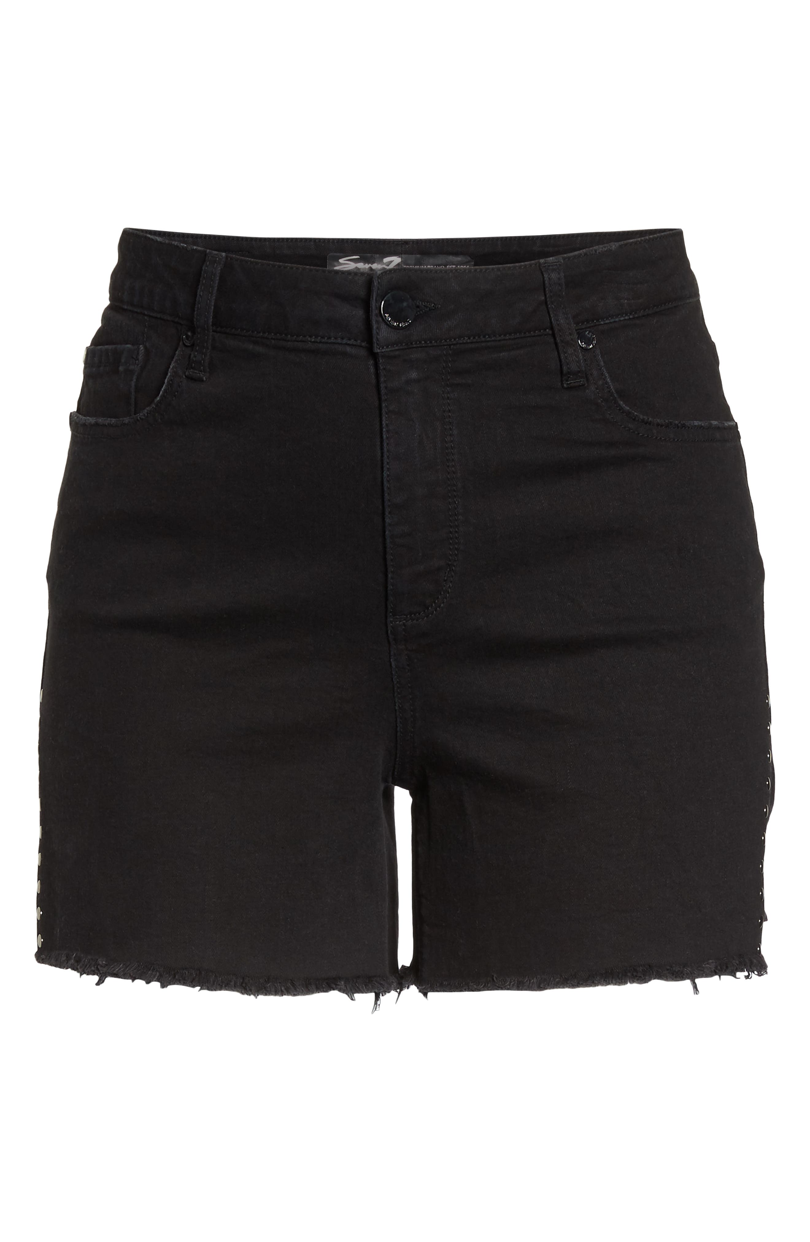 SEVEN7,                             High Rise Stud Detail Denim Shorts,                             Alternate thumbnail 7, color,                             CYCLONE