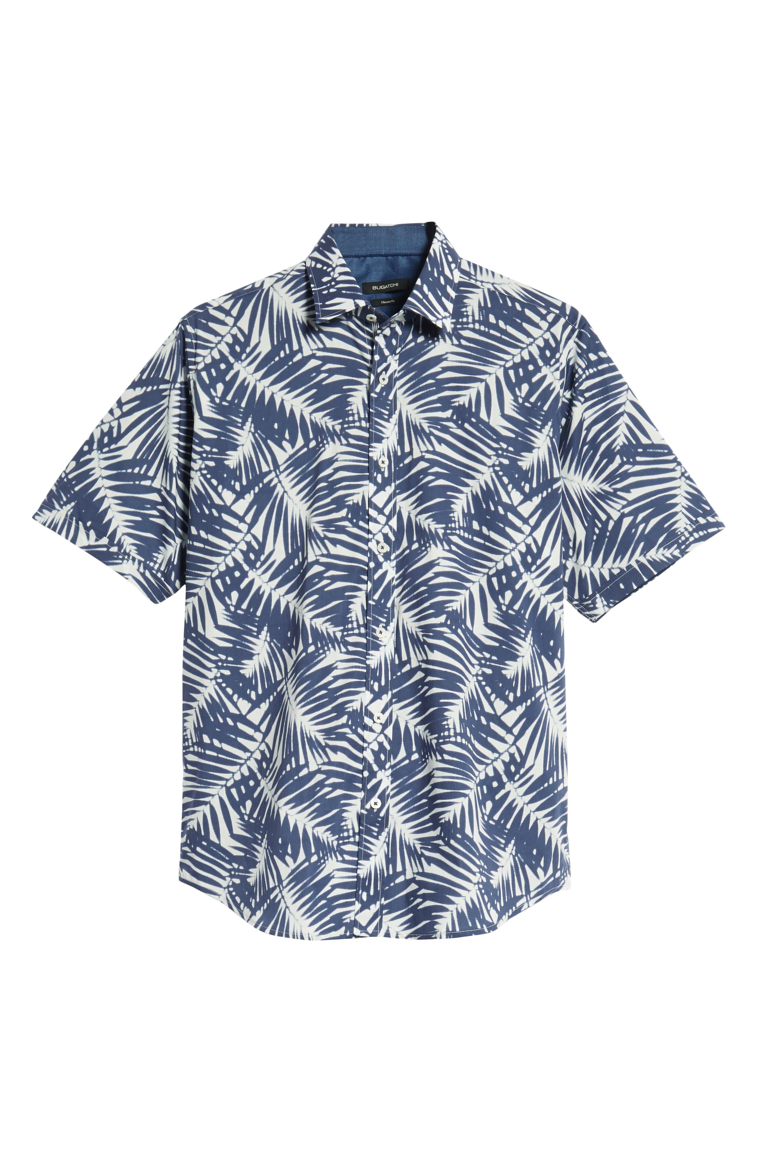 Indigo Palms Classic Fit Sport Shirt,                             Alternate thumbnail 5, color,                             NAVY