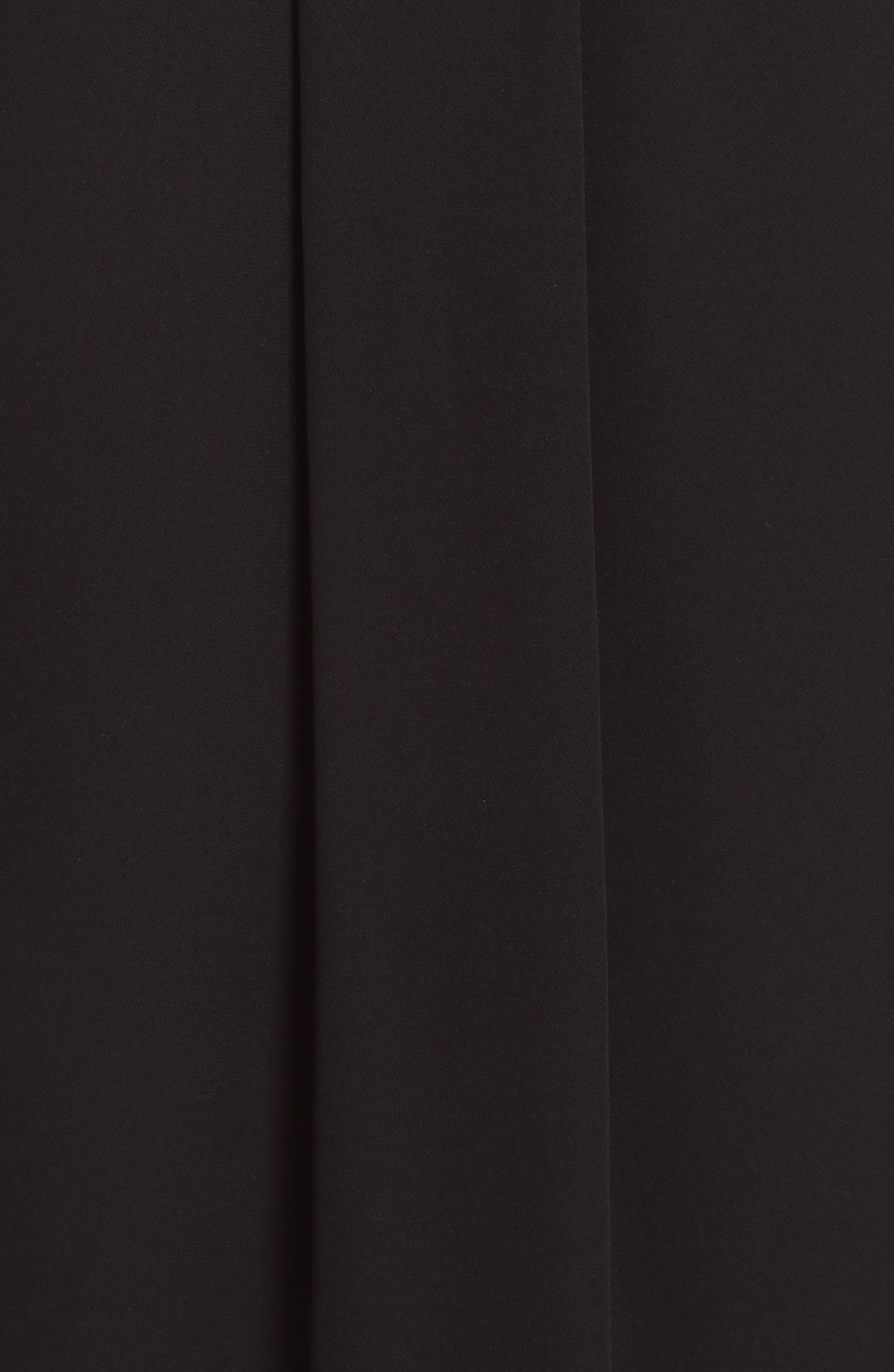 Draped Tie Neck Silk Georgette Shell,                             Alternate thumbnail 5, color,                             BLACK