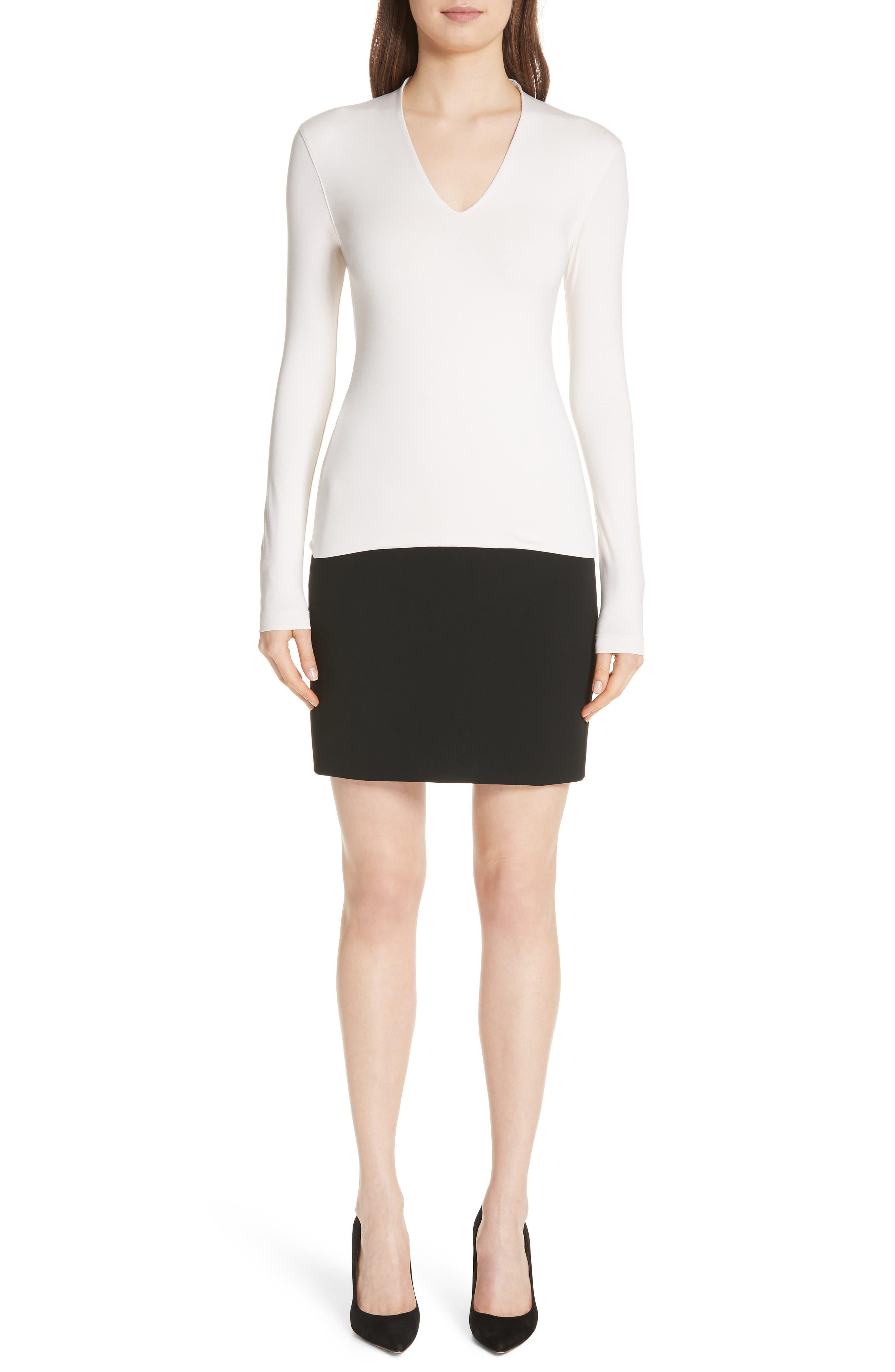 Double Face Pencil Skirt,                             Alternate thumbnail 7, color,                             BLACK
