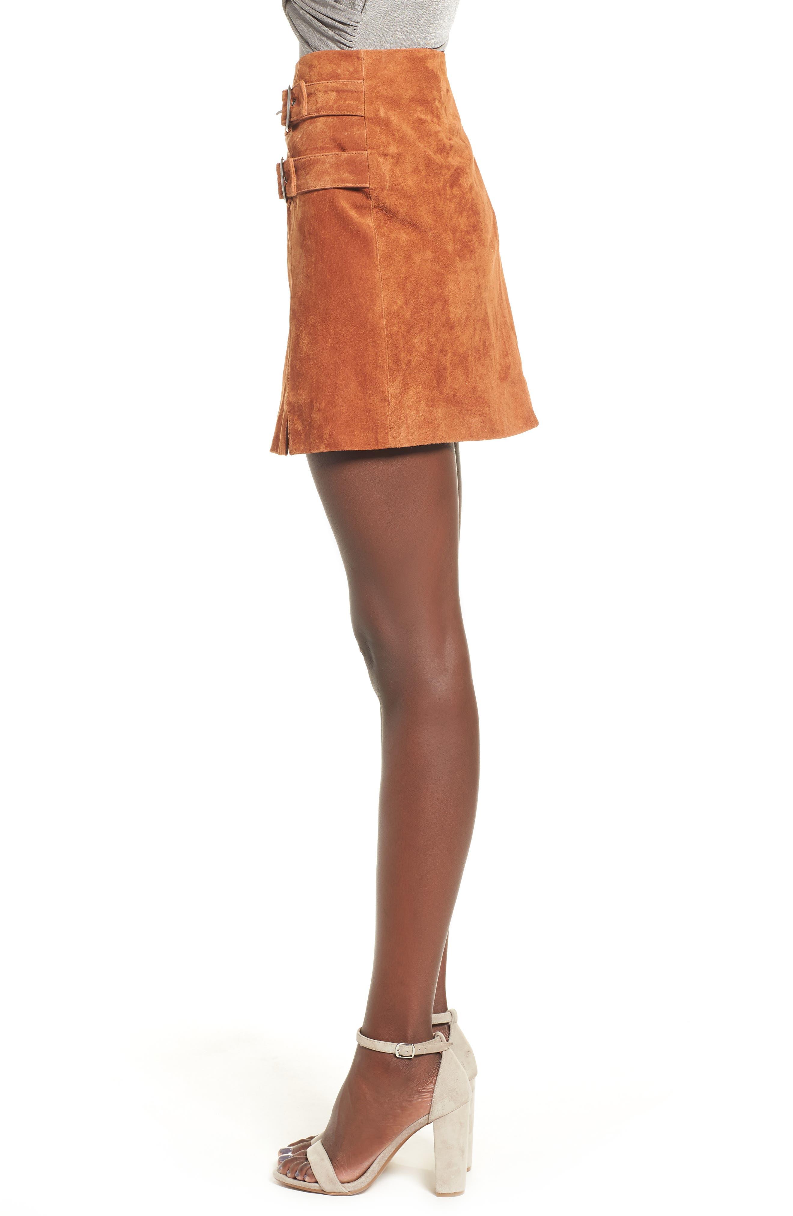 Double Buckle Suede Skirt,                             Alternate thumbnail 3, color,                             EL DORADO