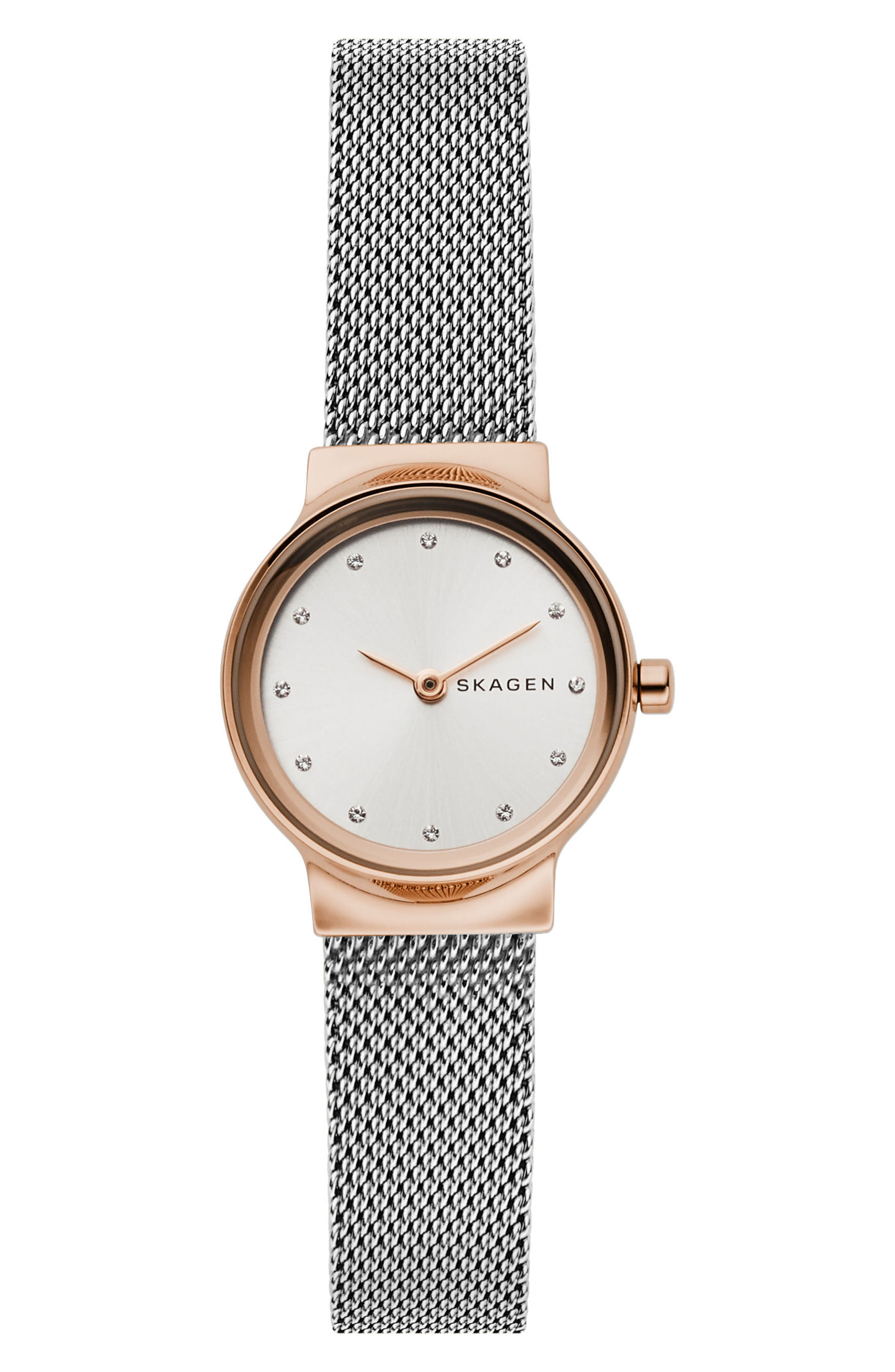 Freja Crystal Accent Mesh Strap Watch, 26mm,                         Main,                         color, SILVER/ WHITE/ ROSE GOLD