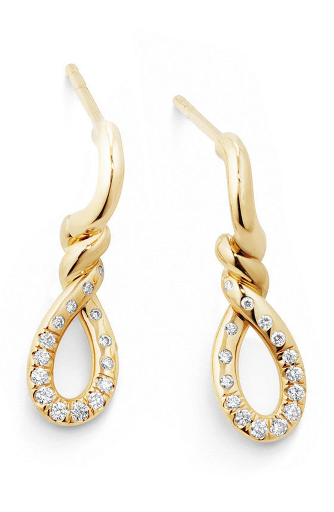 Continuance Drop Earrings in 18K Gold with Diamonds,                             Alternate thumbnail 2, color,                             YELLOW GOLD