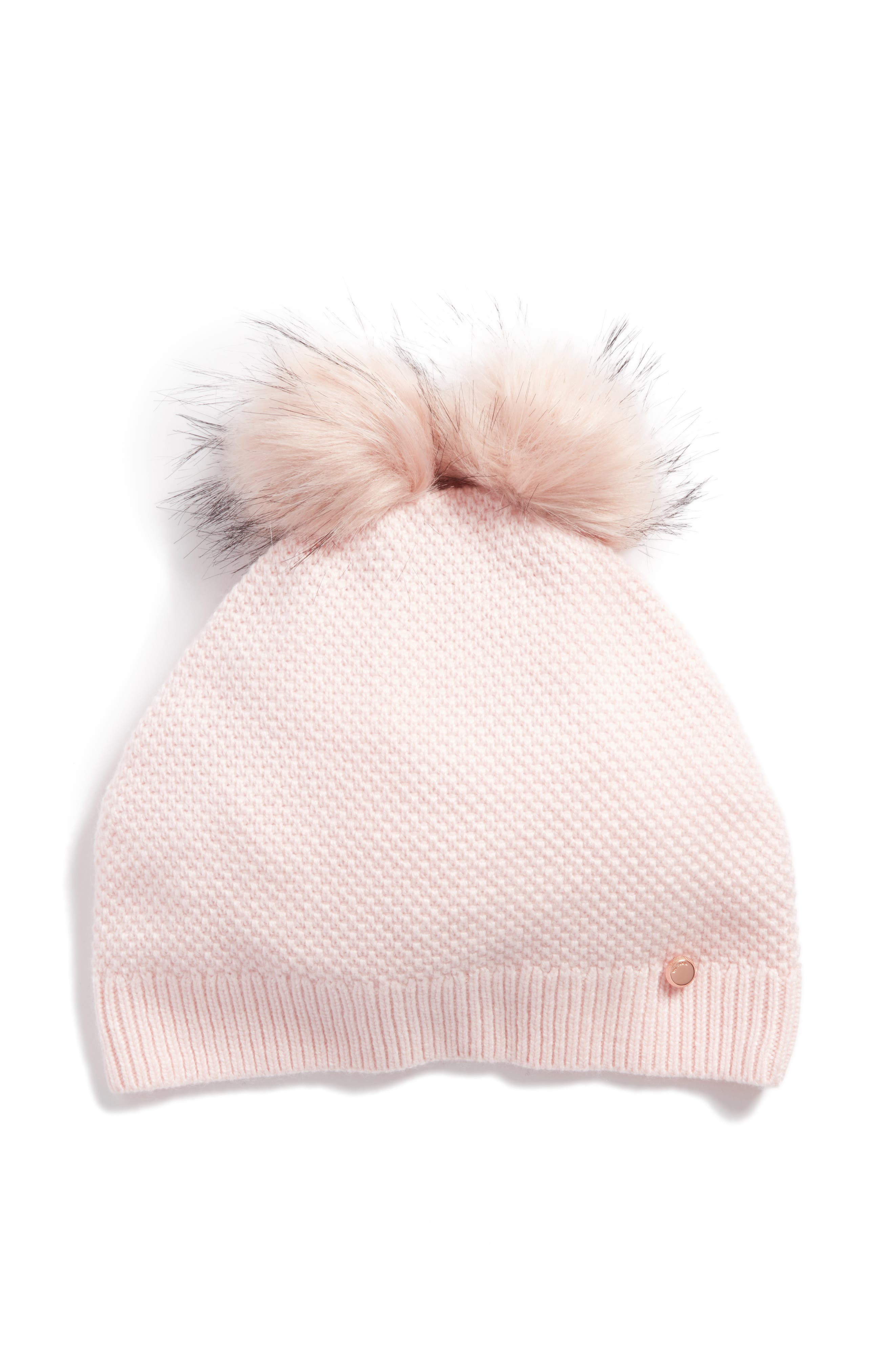 Double Faux Fur Pom Beanie,                             Main thumbnail 2, color,