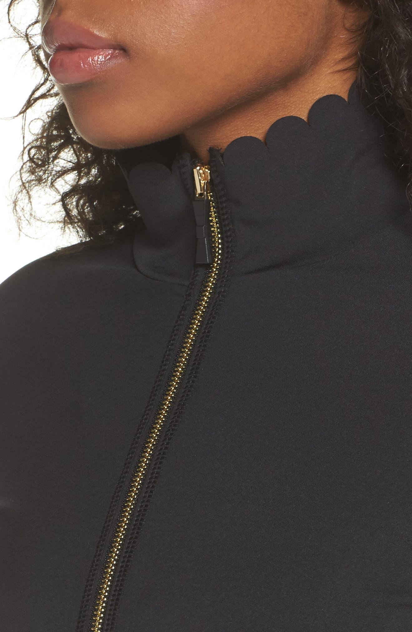 scallop jacket,                             Alternate thumbnail 4, color,                             BLACK