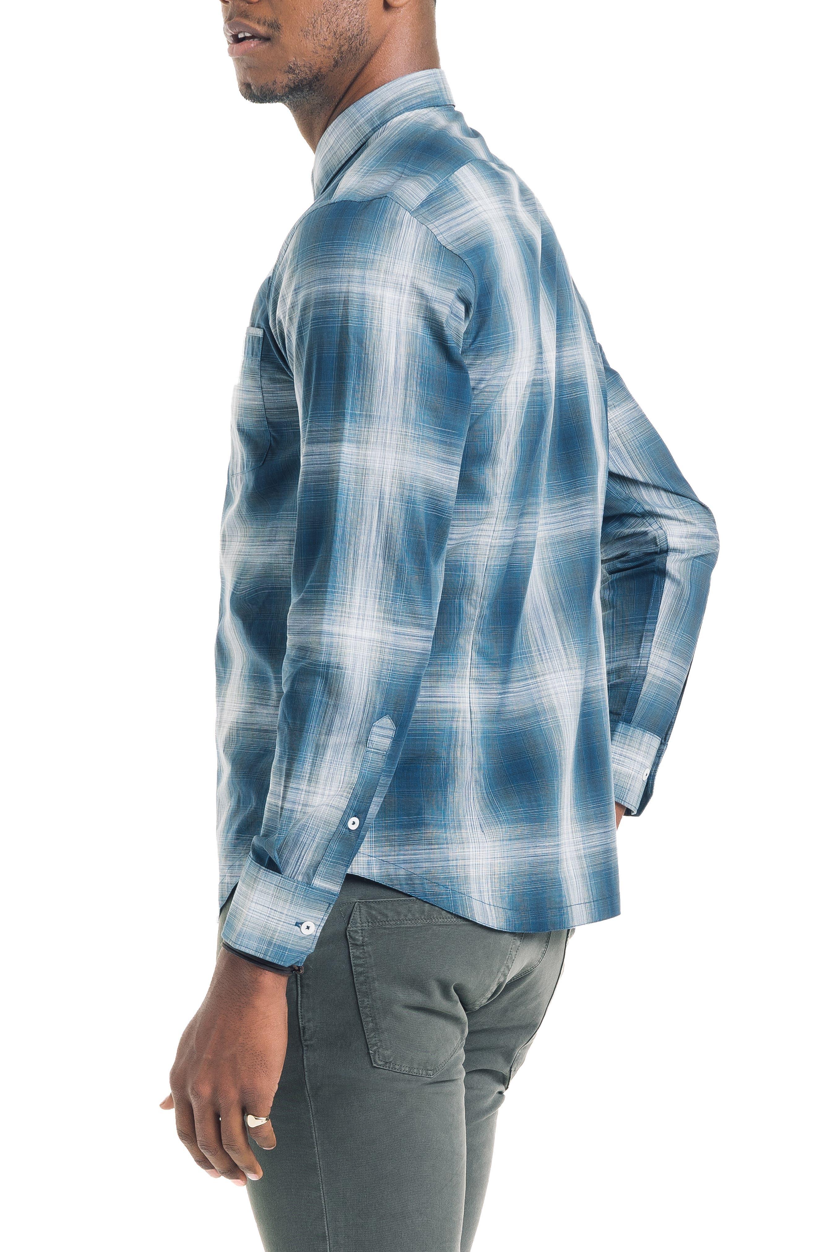 Bonsai Slim Fit Sport Shirt,                             Alternate thumbnail 3, color,                             SEA