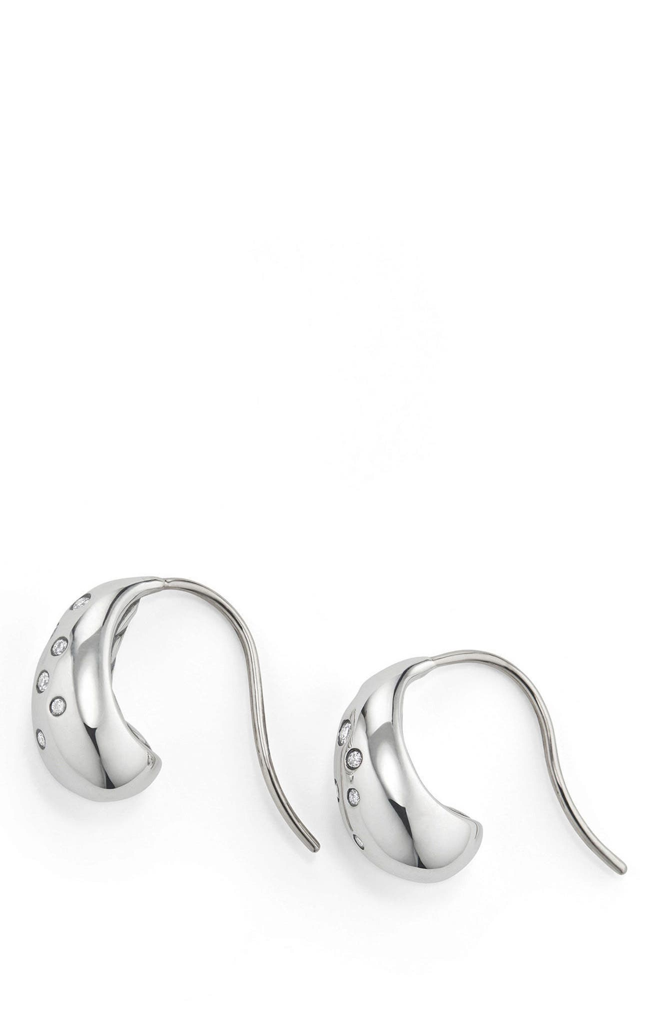 Pure Form Earrings with Diamonds, 15mm,                             Alternate thumbnail 2, color,                             SILVER