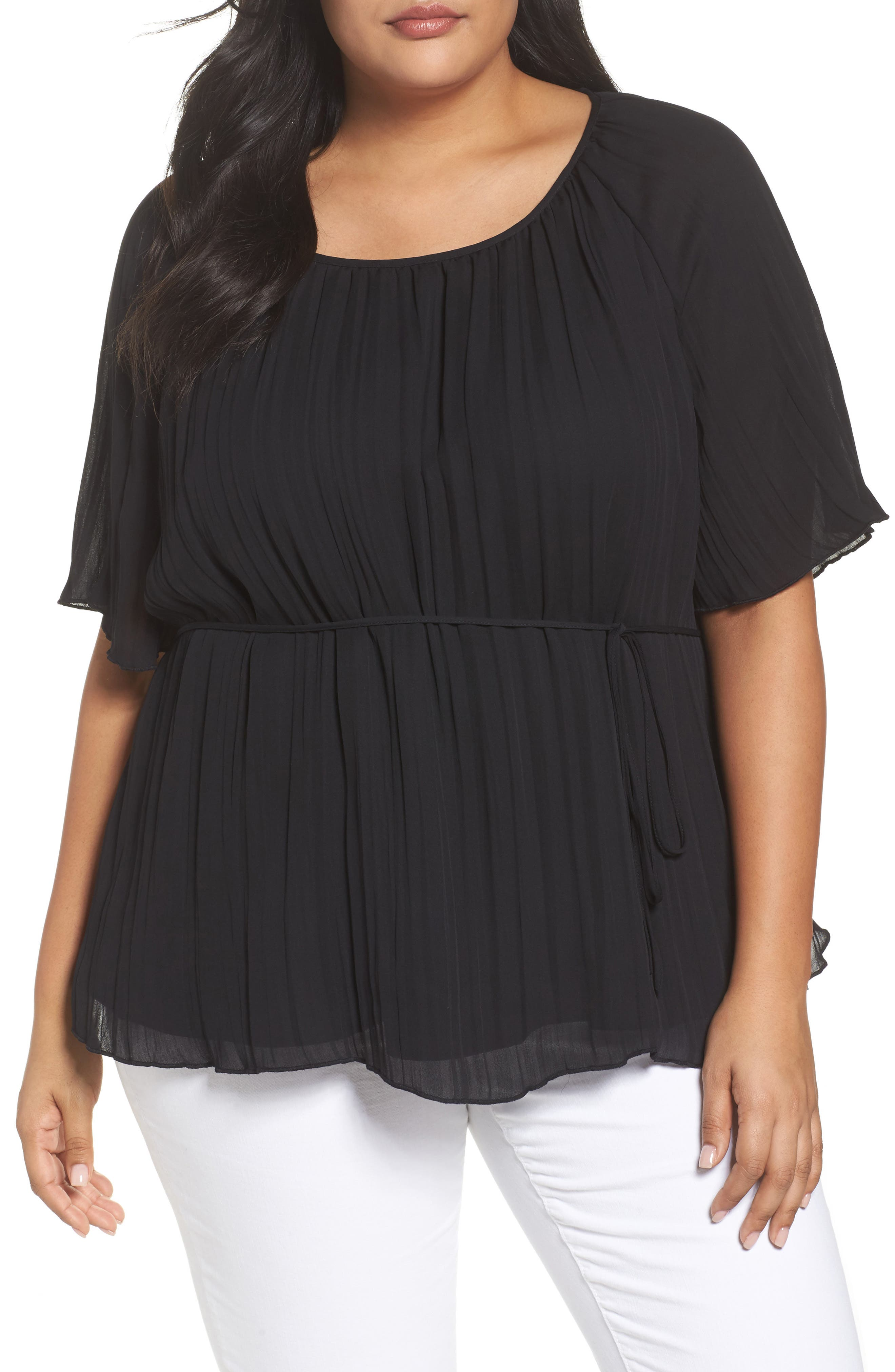 Crinkle Scoop Neck Top,                         Main,                         color, 001