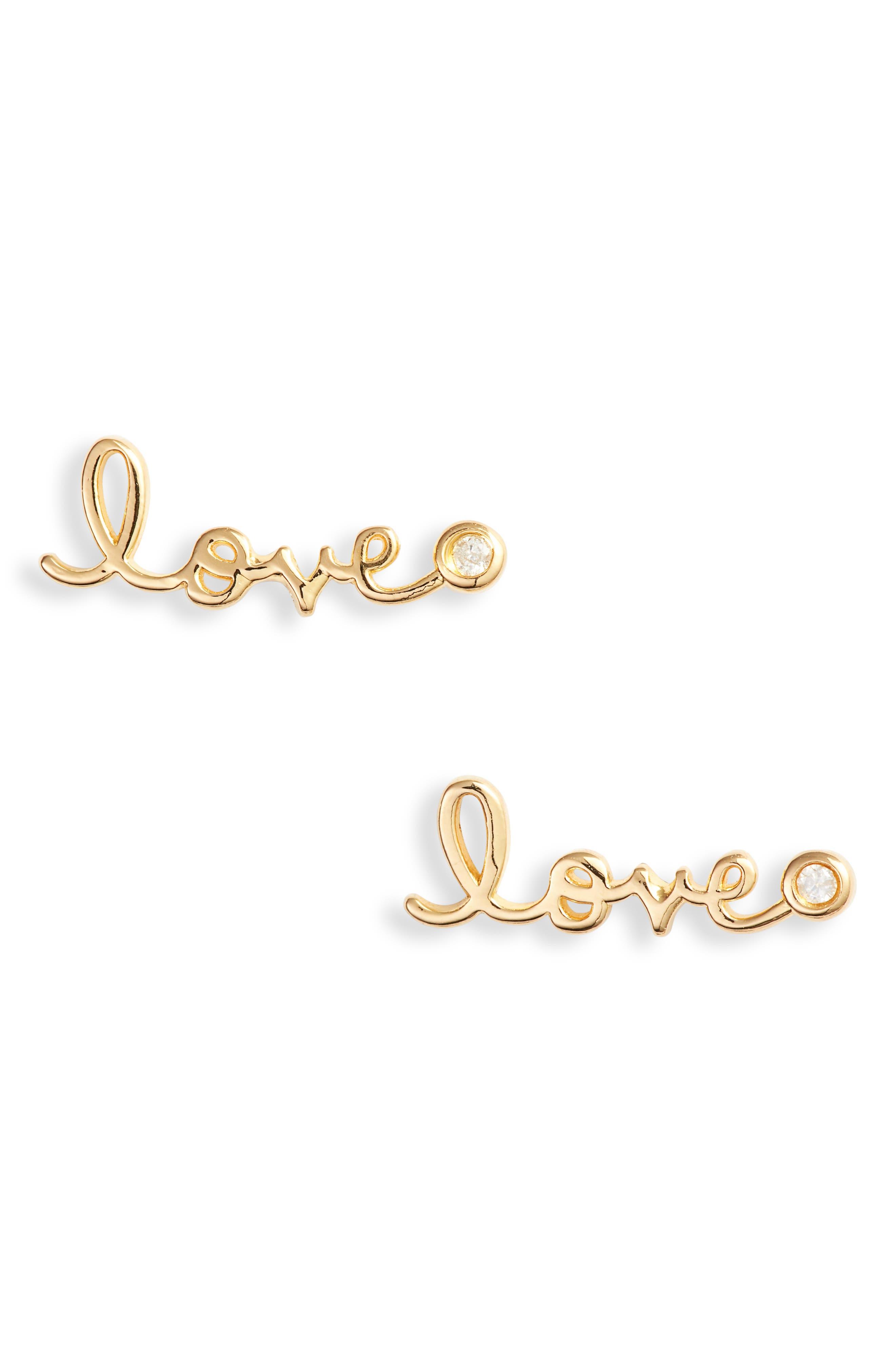 Love Diamond Stud Earrings,                             Alternate thumbnail 2, color,                             GOLD