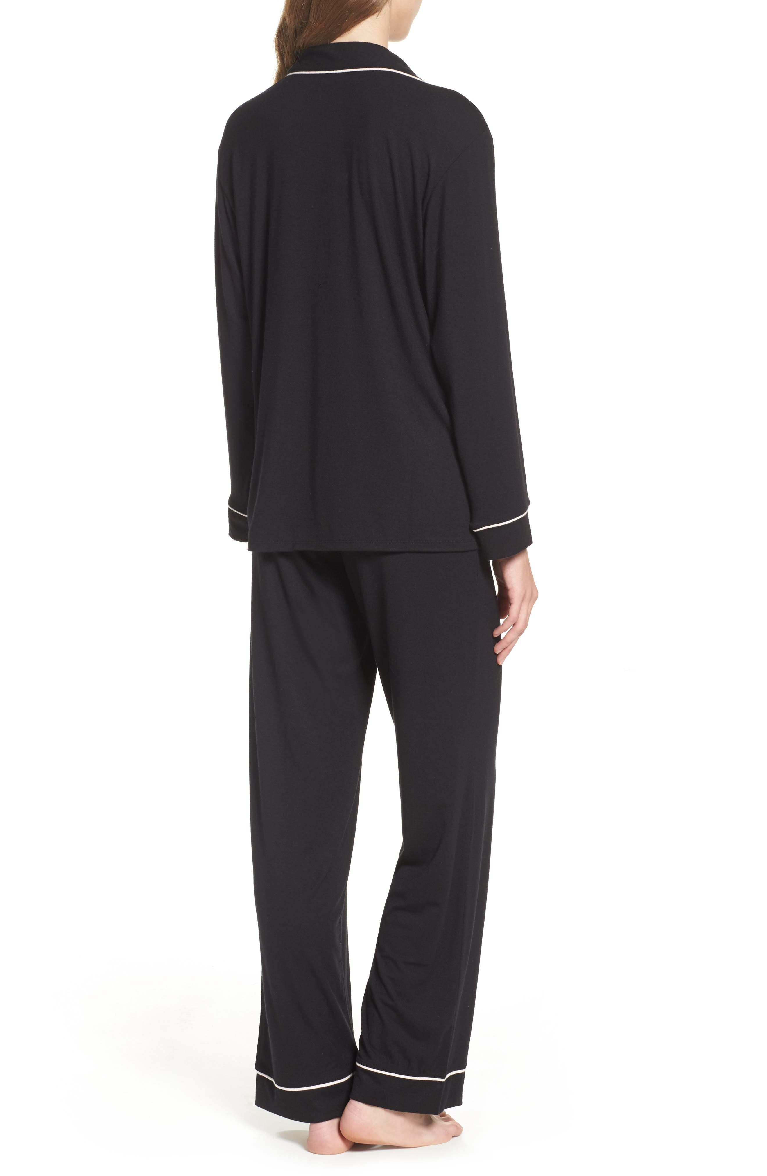 'Giselle' Pajamas,                             Alternate thumbnail 3, color,                             BLACK/ SORBET PINK