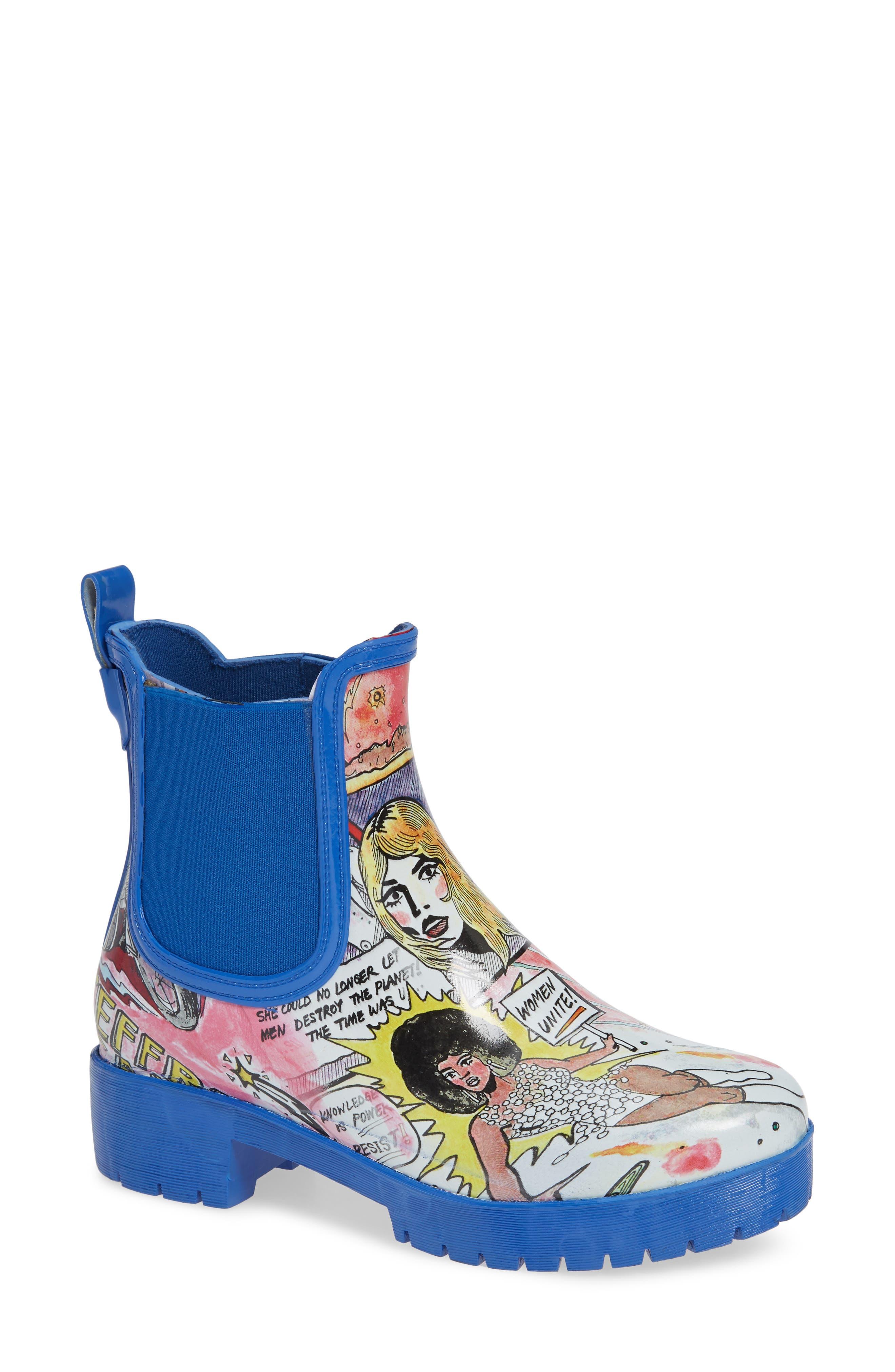 Cloudy Chelsea Rain Boot,                             Main thumbnail 1, color,                             COMIC PRINT