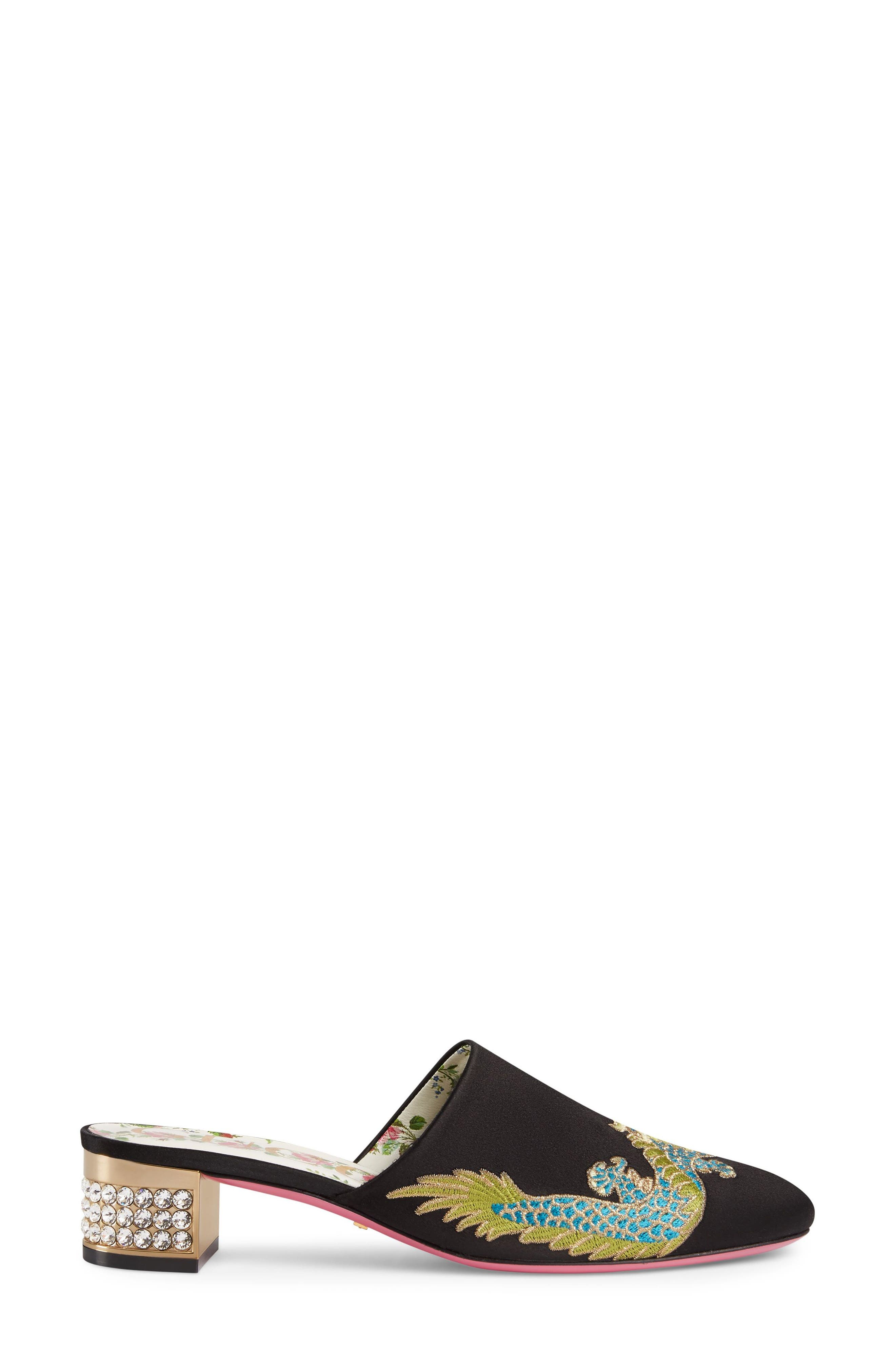 GUCCI,                             Candy Crystal Embellished Mule,                             Alternate thumbnail 3, color,                             001